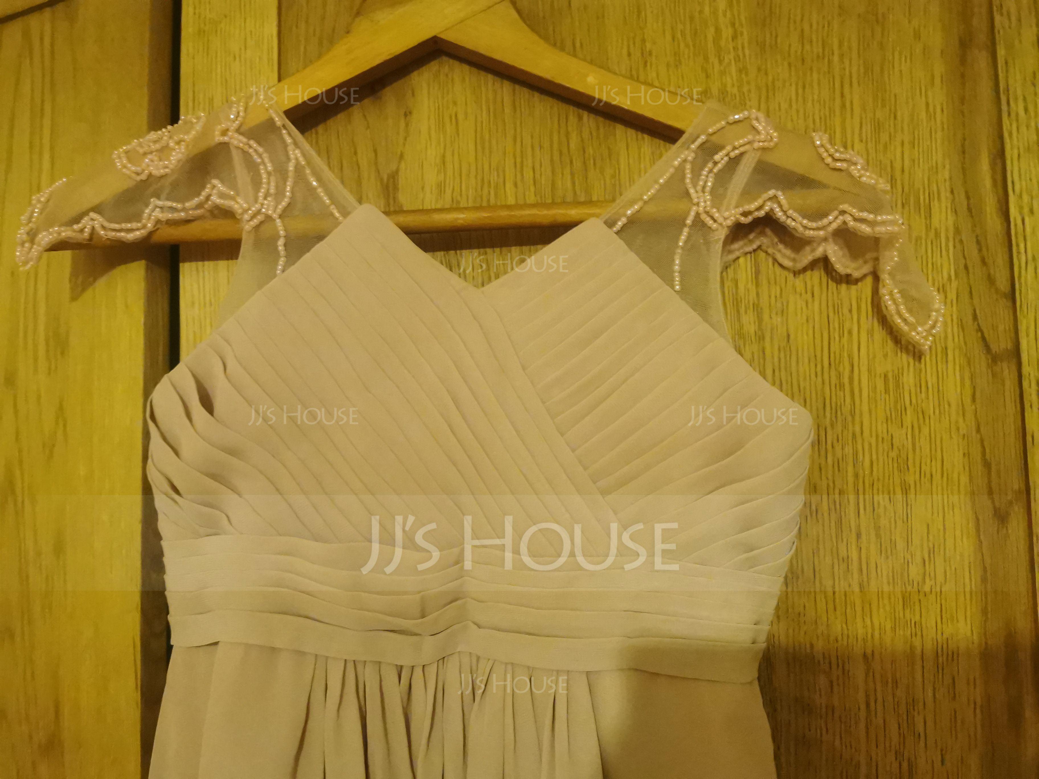 Corte A Decote V Longos Tecido de seda Vestido de daminha júnior com Pregueado Beading