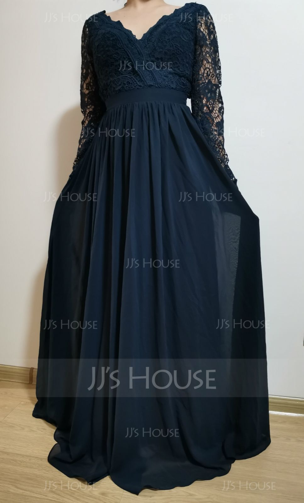 A-Line V-neck Floor-Length Chiffon Bridesmaid Dress (007190715)