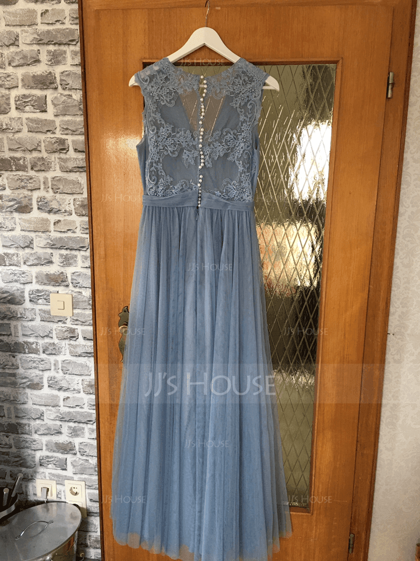 A-Line/Princess V-neck Floor-Length Tulle Lace Bridesmaid Dress With Ruffle (007131062)