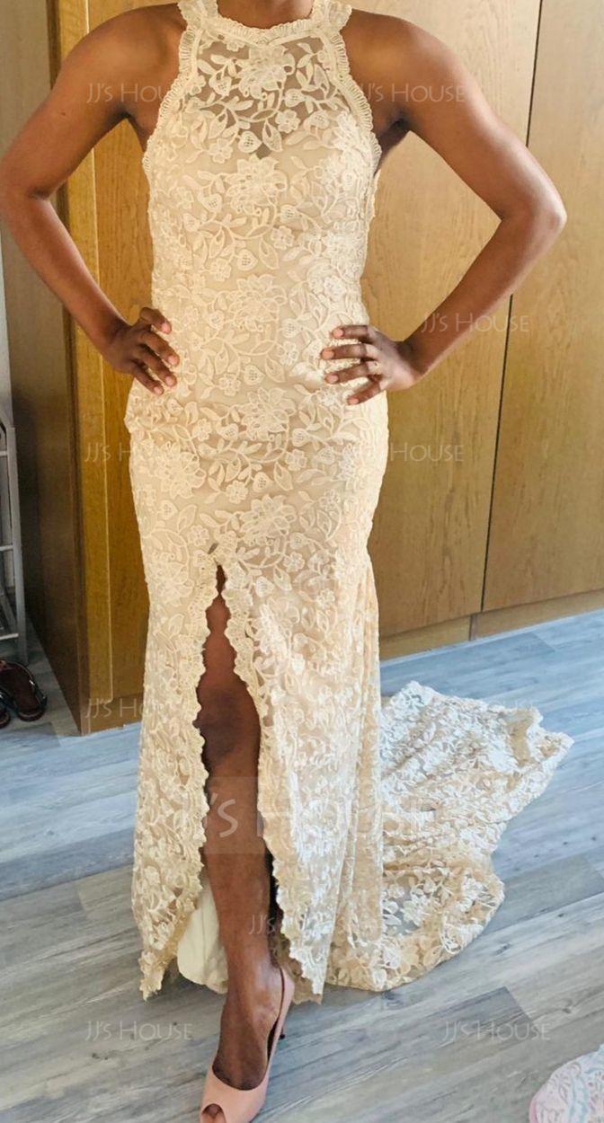 Sheath/Column Scoop Neck Chapel Train Lace Wedding Dress With Split Front (265201786)