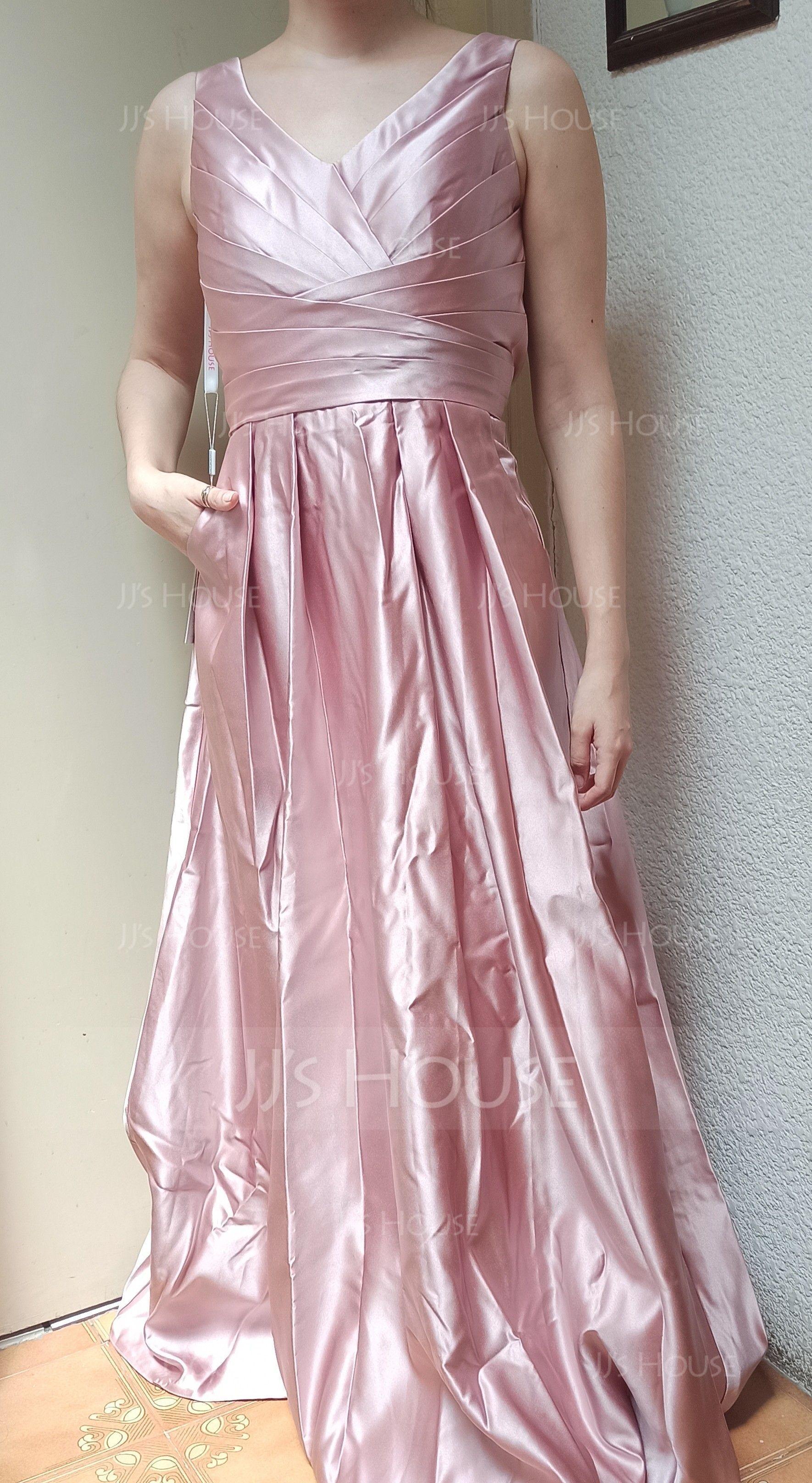 Princesový V-Výstřihem Délka na zem Satén Šaty pro družičku S Volán Kapsy (266183718)
