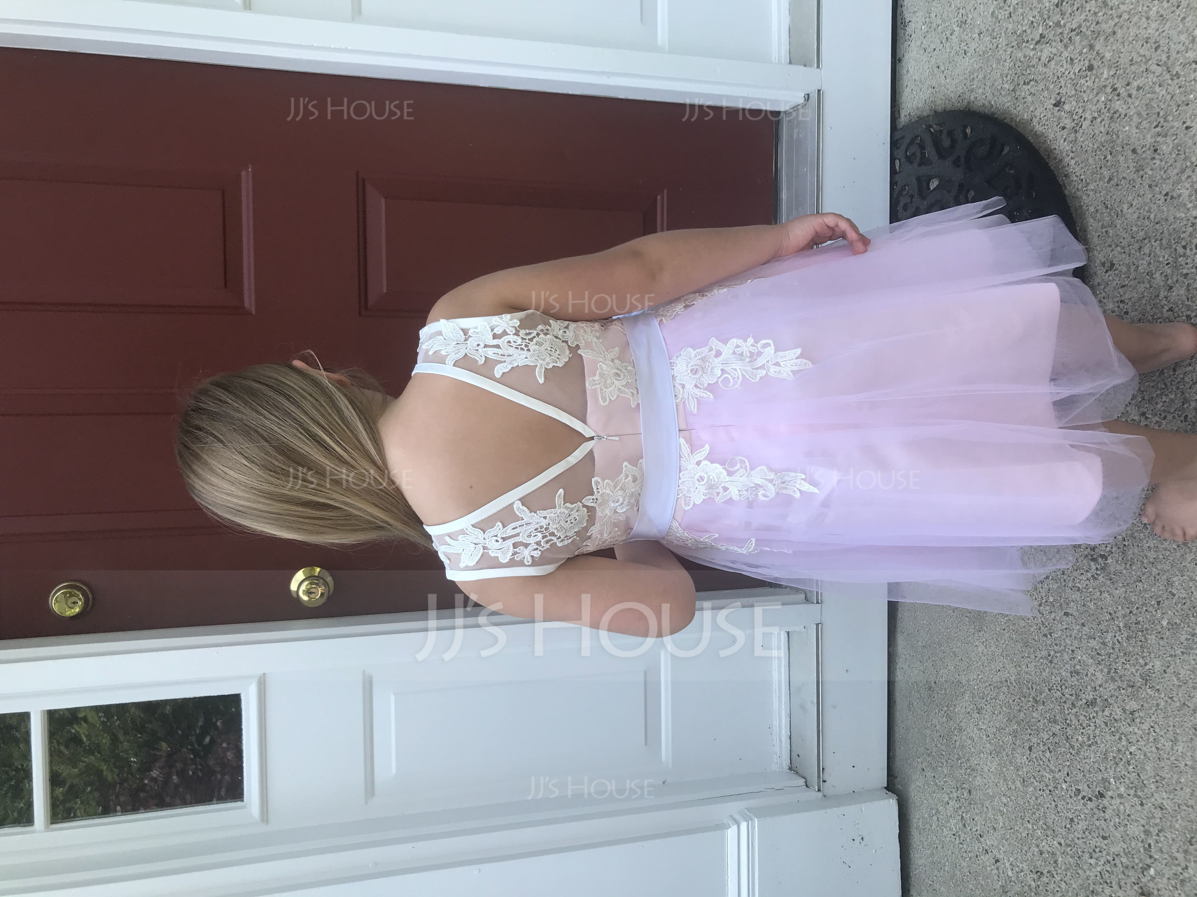 A-Line/Princess Knee-length Flower Girl Dress - Tulle/Lace Sleeveless Scoop Neck With Sash/V Back (Detachable sash) (010090575)