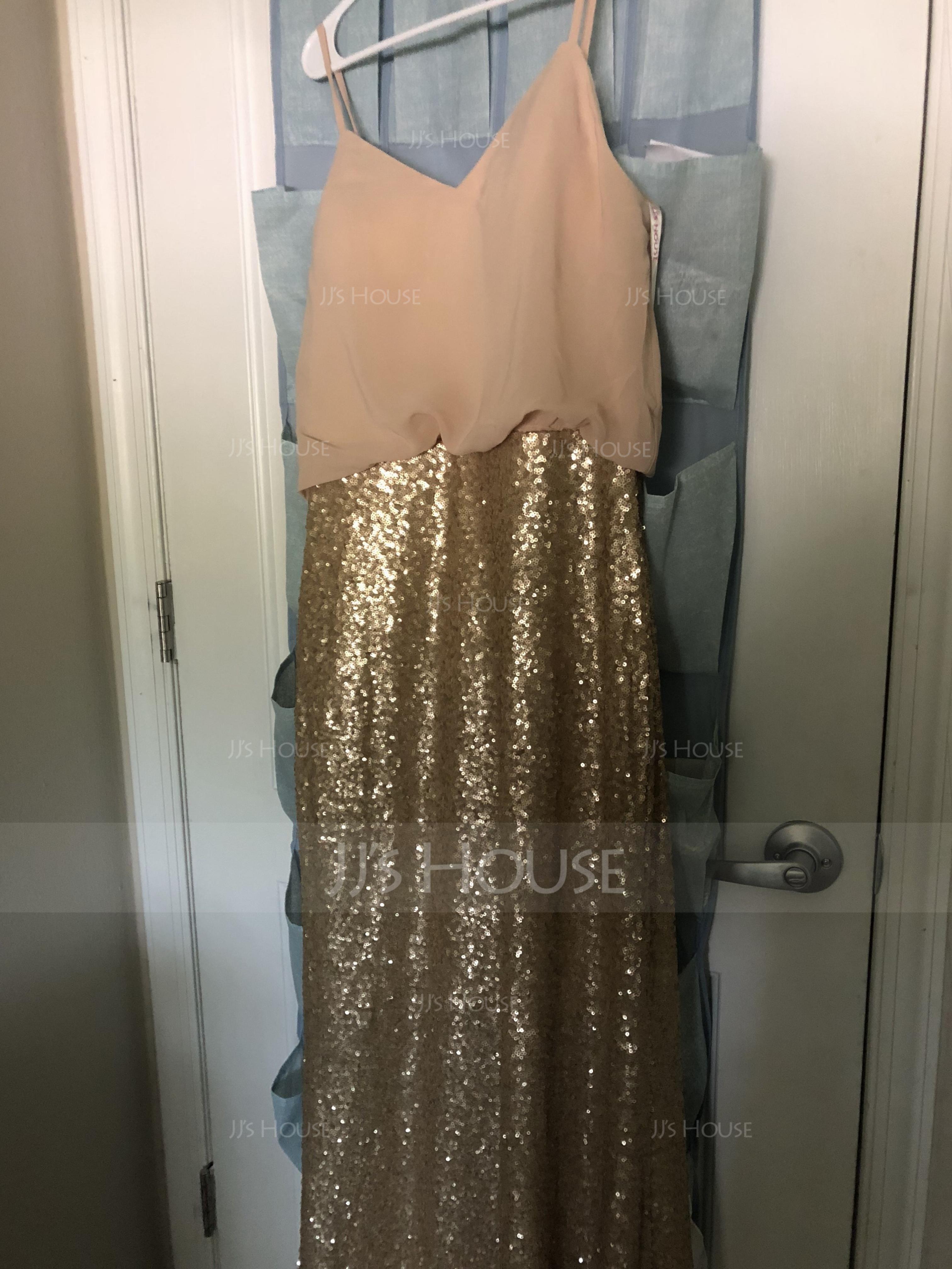 Sheath/Column V-neck Floor-Length Chiffon Sequined Bridesmaid Dress (266196026)