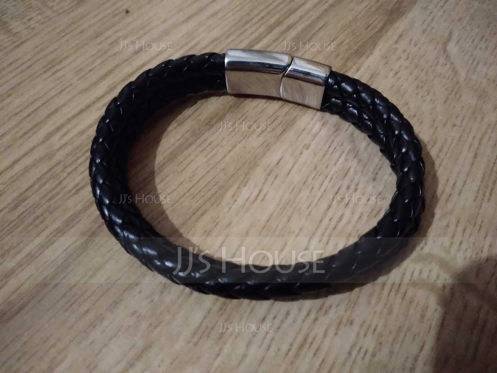 Custom Platinum Plated Men Braided Leather Bracelets - Gifts For Him
