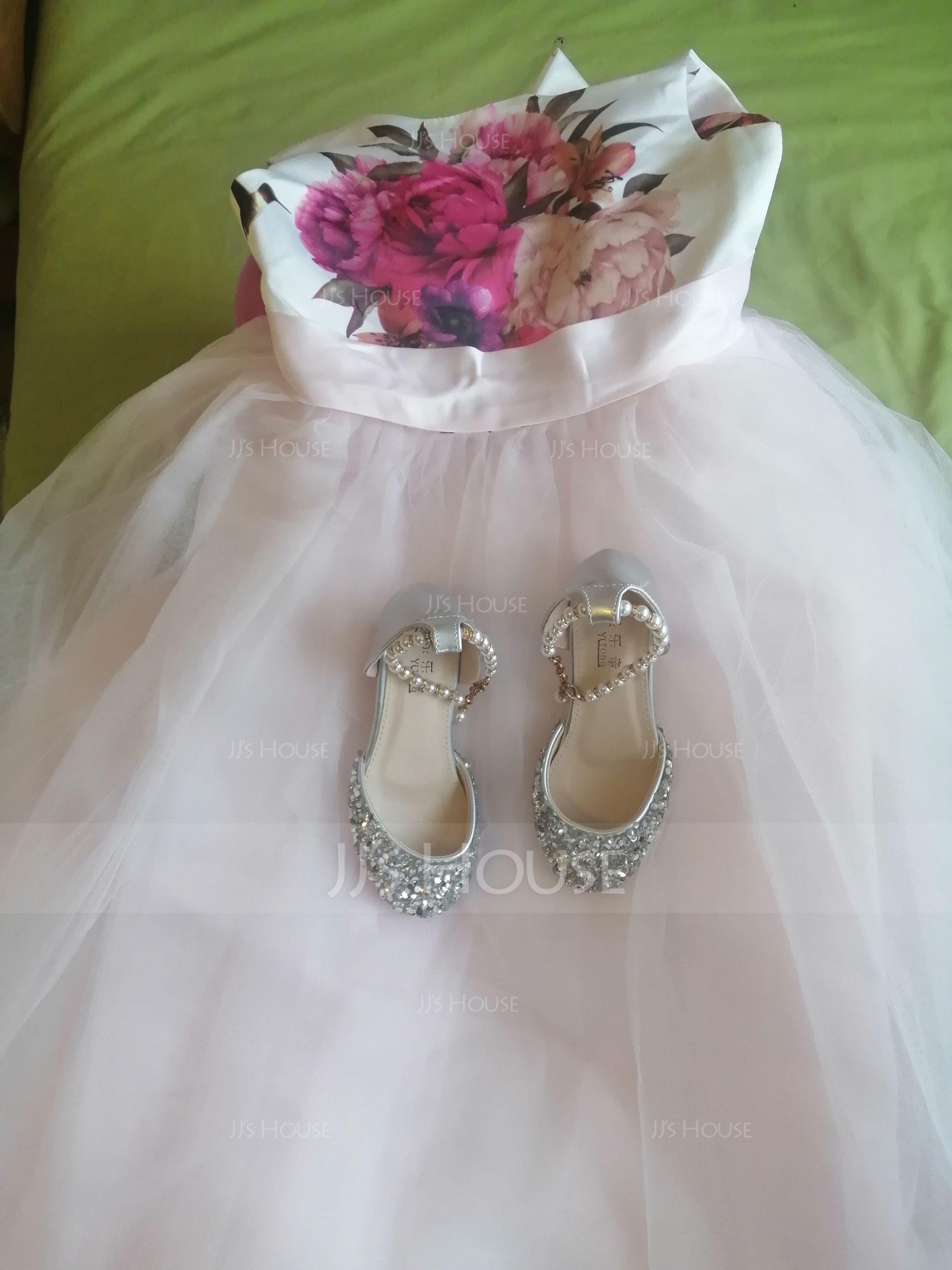 A-Line Asymmetrical Flower Girl Dress - Satin/Tulle Sleeveless Scoop Neck With Flower(s)/Bow(s)/V Back (010119318)