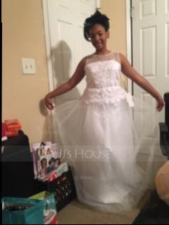 Ball-Gown Scoop Neck Floor-Length Tulle Junior Bridesmaid Dress With Sash Beading Bow(s) (009130523)