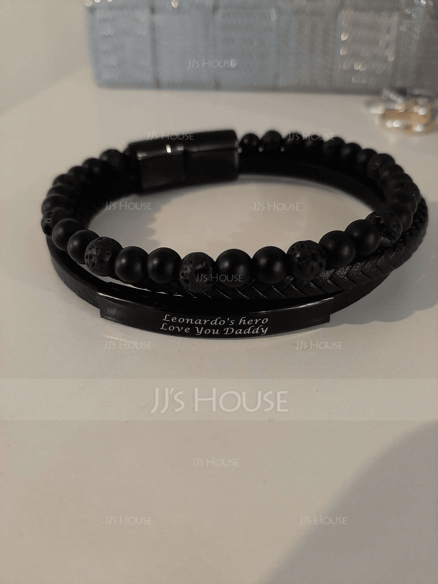 Custom Beaded Stone Men Braided Leather Bracelets - Father's Day Gifts
