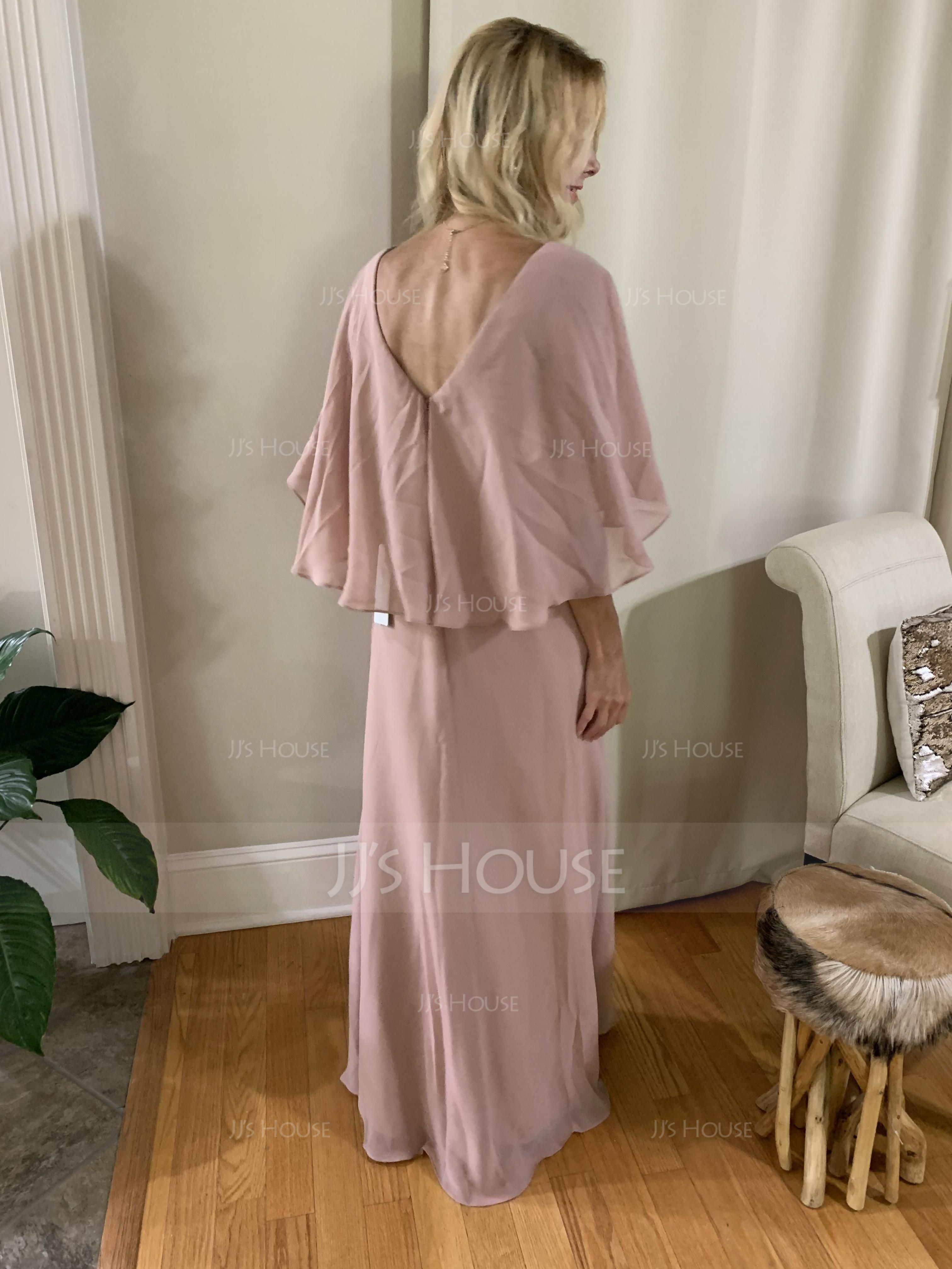 V-neck Floor-Length Chiffon Bridesmaid Dress (266202660)