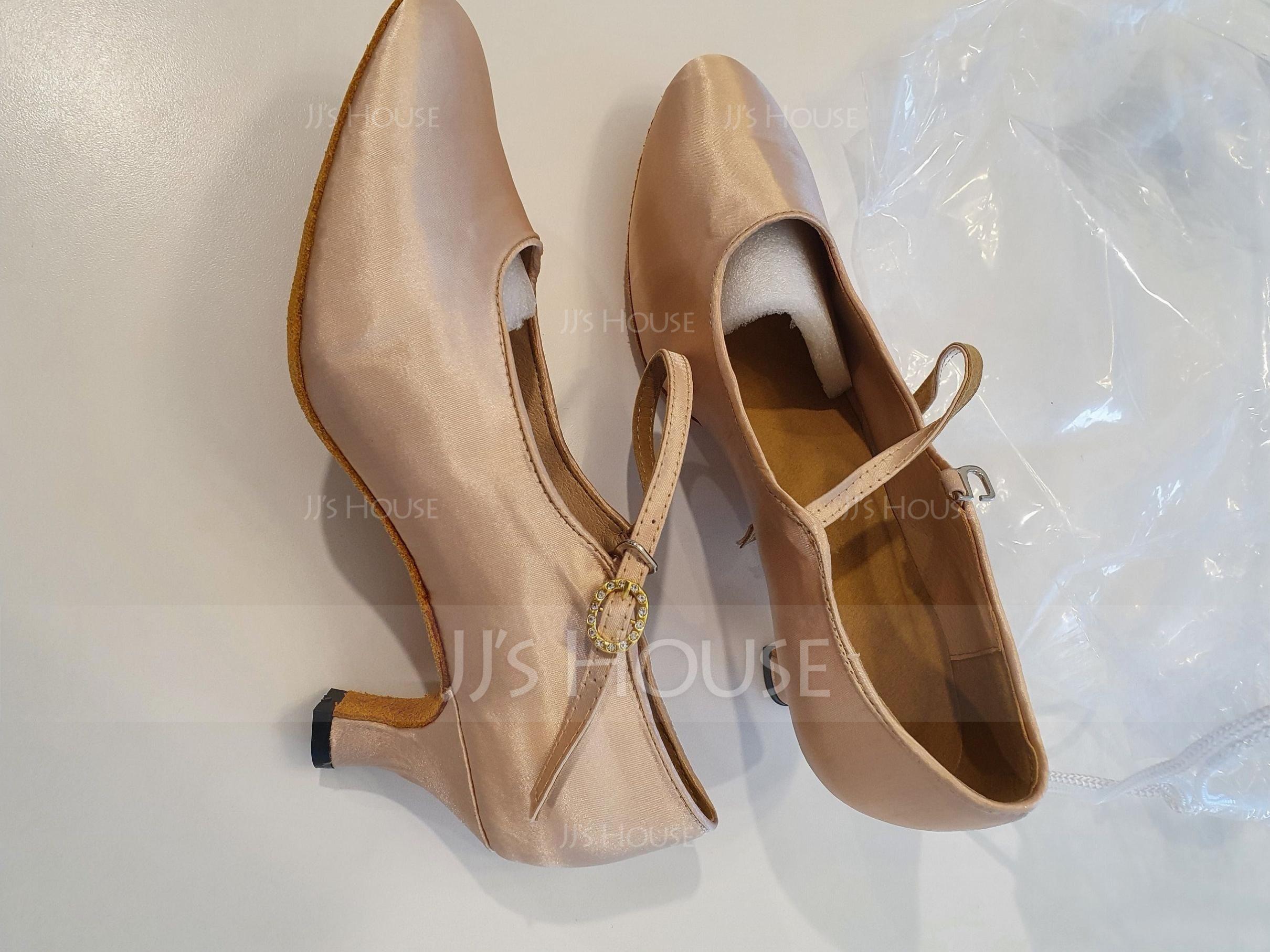 Women's Satin Heels Pumps Ballroom Dance Shoes (053090336)