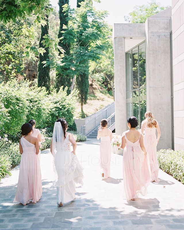 A-Line V-neck Floor-Length Chiffon Prom Dresses With Ruffle (018112673)