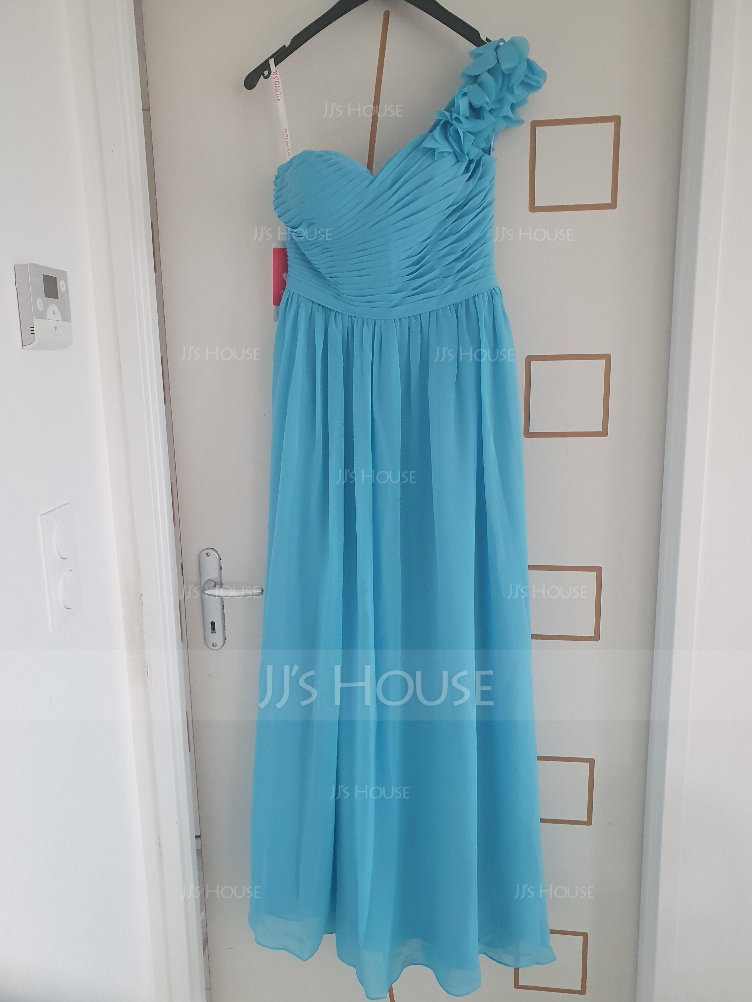 Aライン ワンショルダー マキシレングス シフォン プロム用ドレス とともに ラッフル フラワー