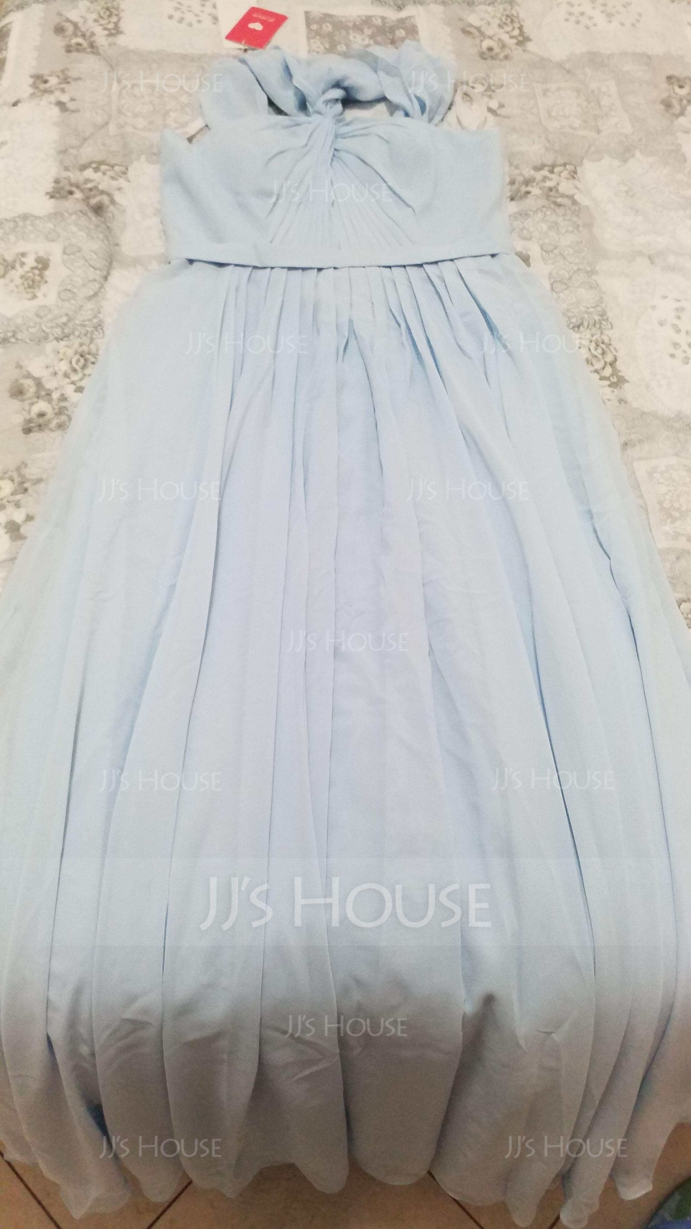 A-Line/Princess V-neck Floor-Length Chiffon Bridesmaid Dress With Ruffle (007116651)