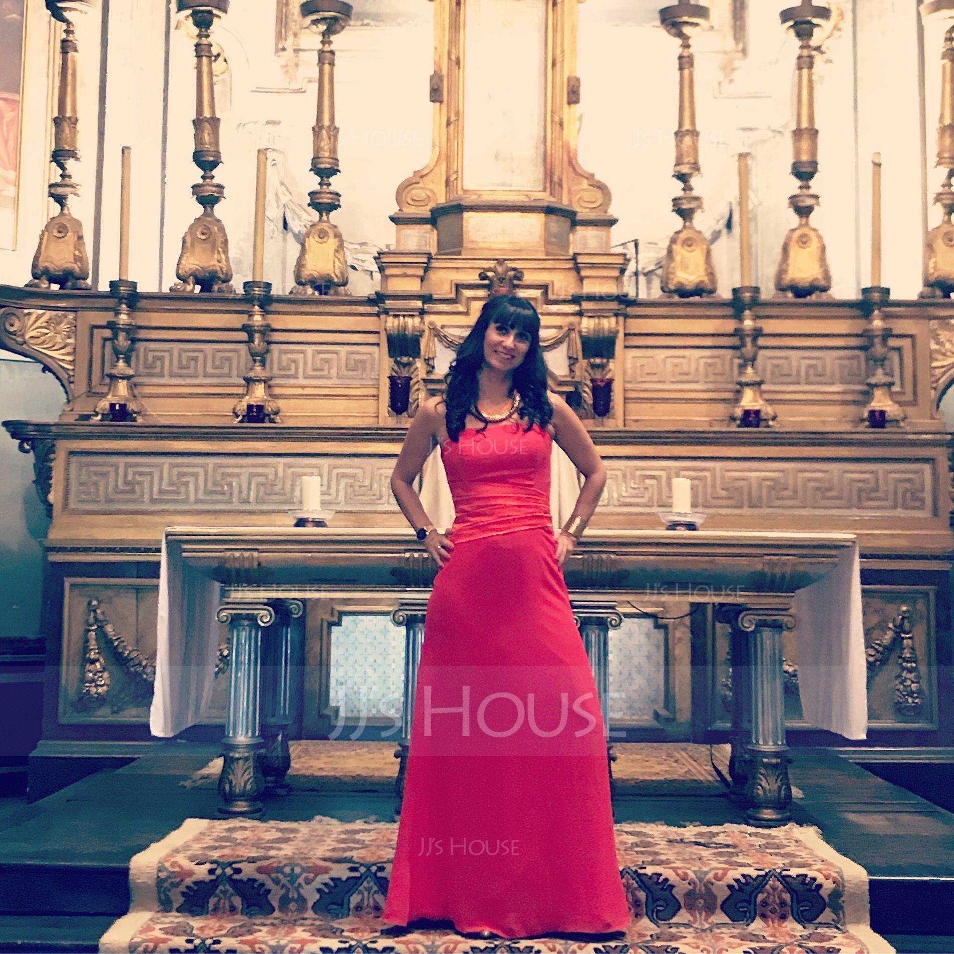 Sheath/Column Strapless Floor-Length Chiffon Bridesmaid Dress With Ruffle (007001790)