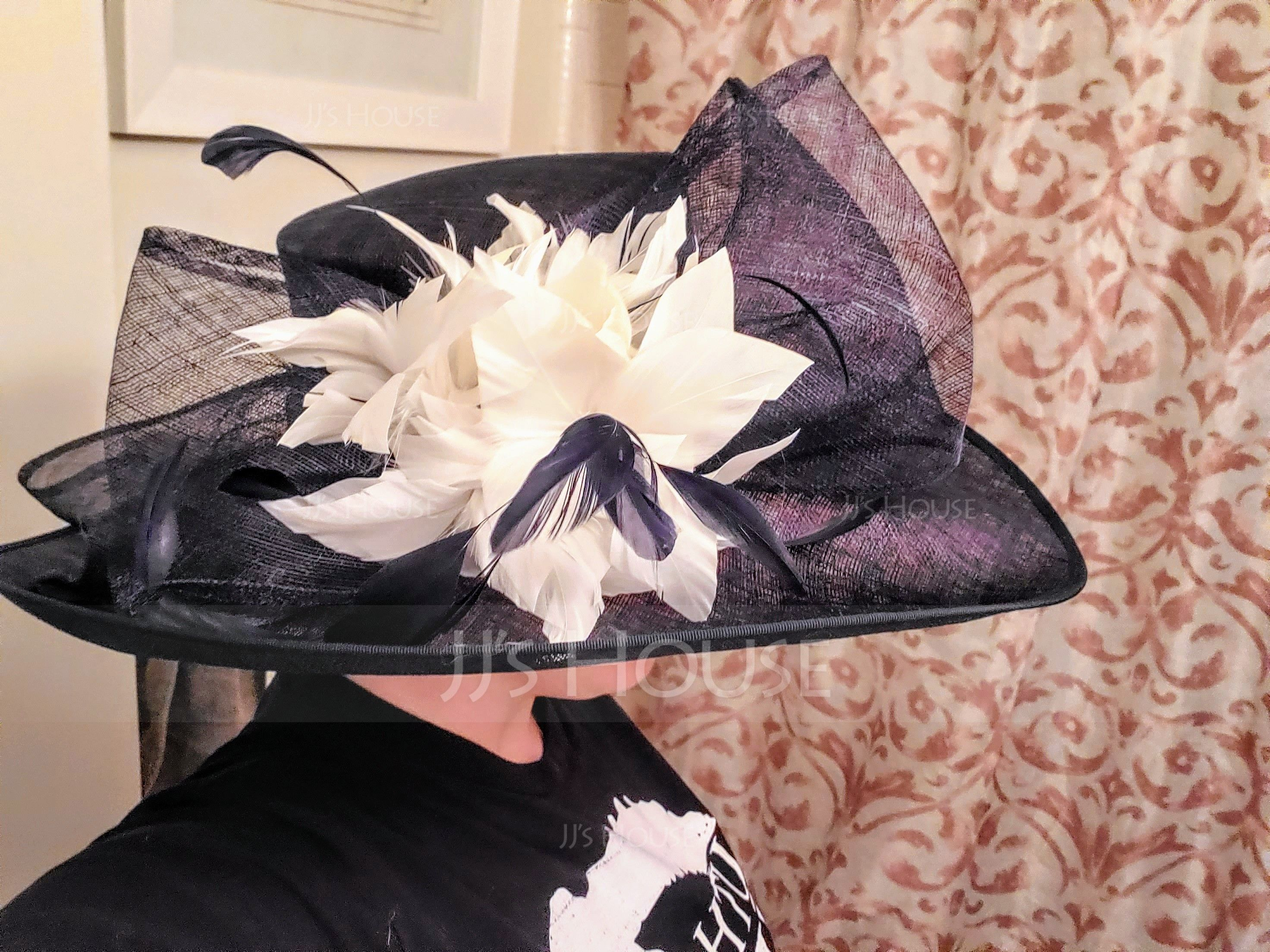 Ladies' Charming Cambric With Feather Bowler/Cloche Hats/Kentucky Derby Hats/Tea Party Hats (196075548)