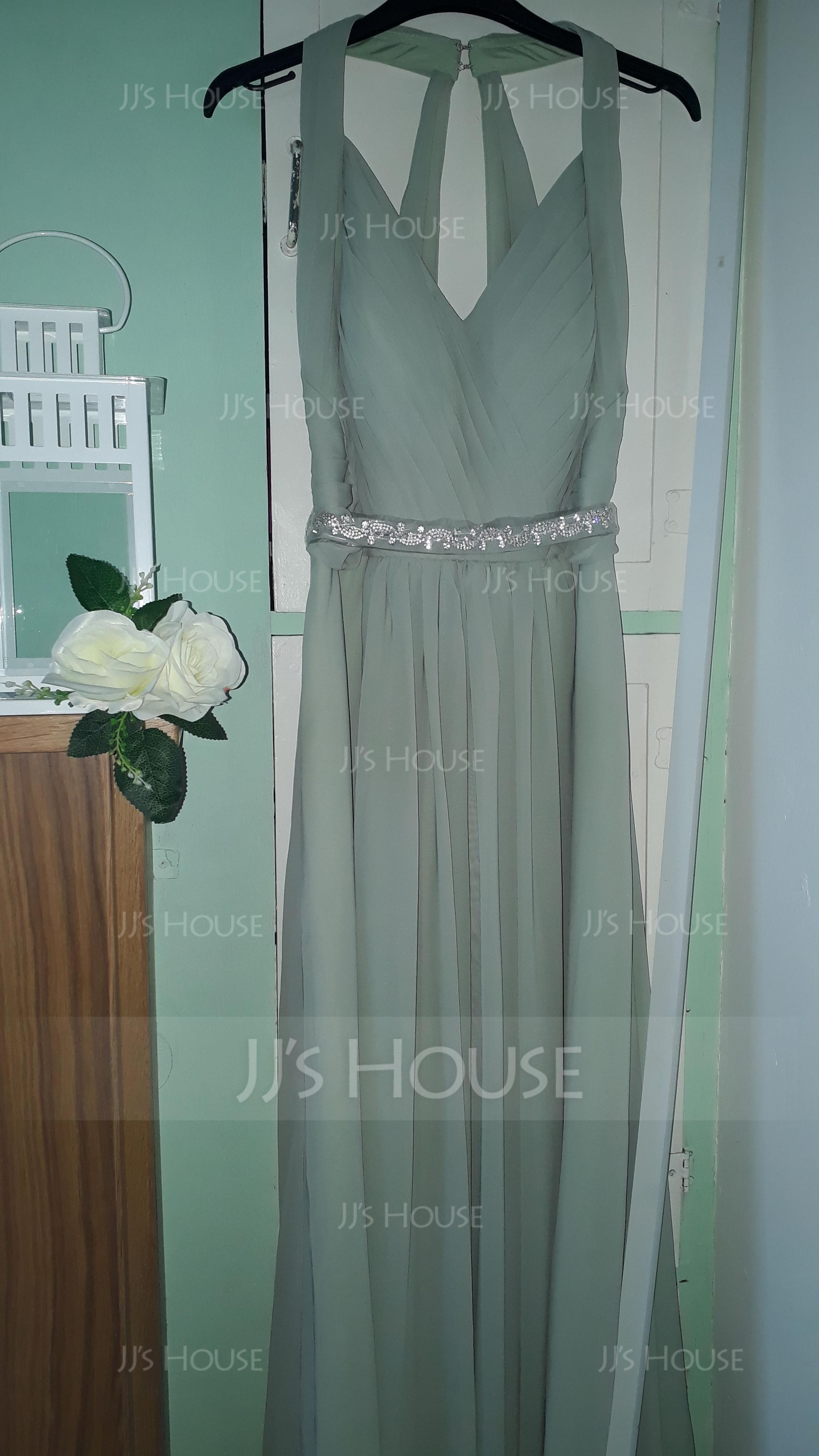 A-linjainen/Prinsessa V-kaula-aukko Lattiaa hipova pituus Sifonki Morsiusneitojen mekko jossa Rypytys Helmikoristelu Rusetti (007144772)