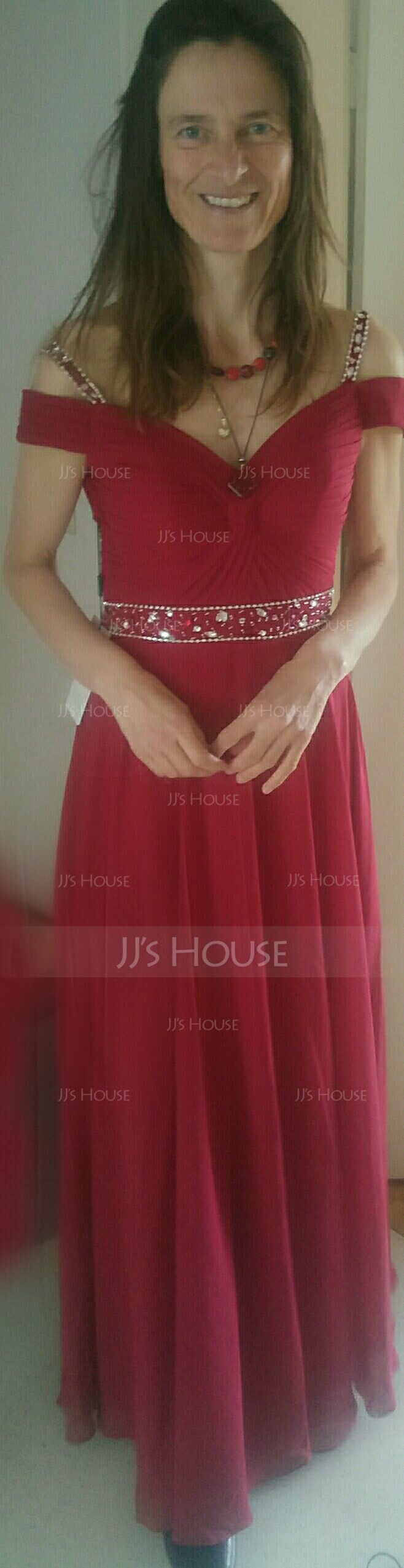 A-Line Sweetheart Floor-Length Chiffon Prom Dresses With Beading Sequins (018138340)