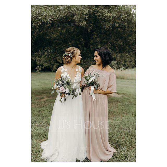 A-Line/Princess Off-the-Shoulder Floor-Length Chiffon Bridesmaid Dress With Split Front (007126431)