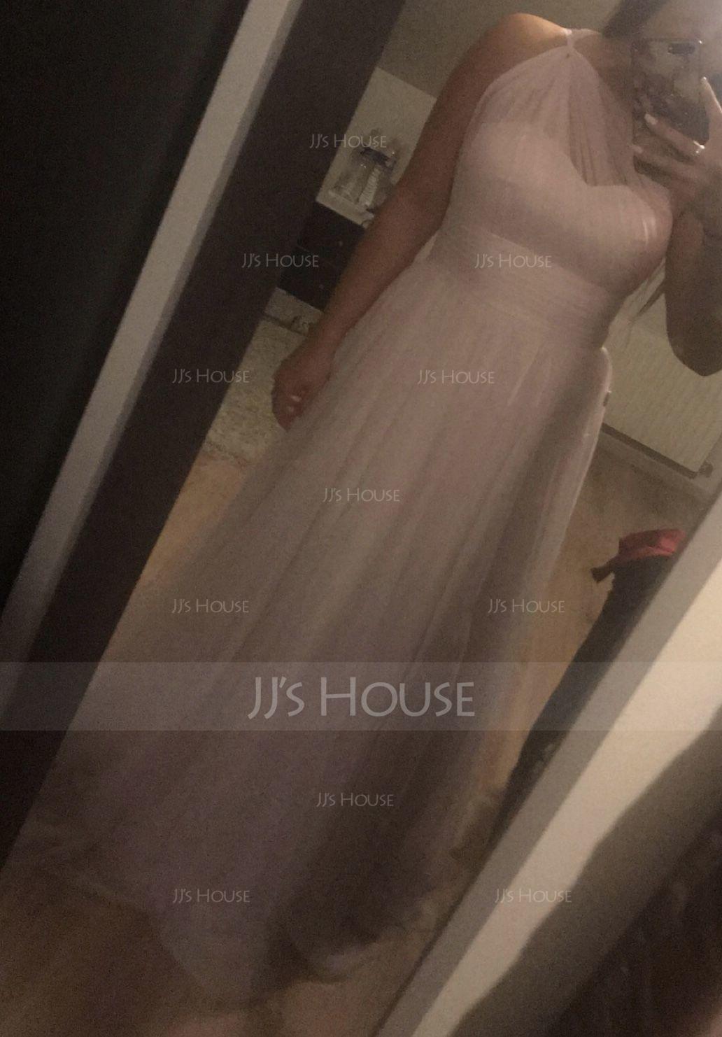 Forme Princesse Seule-épaule Longueur ras du sol Tulle Robe de demoiselle d'honneur avec Plissé (007090183)