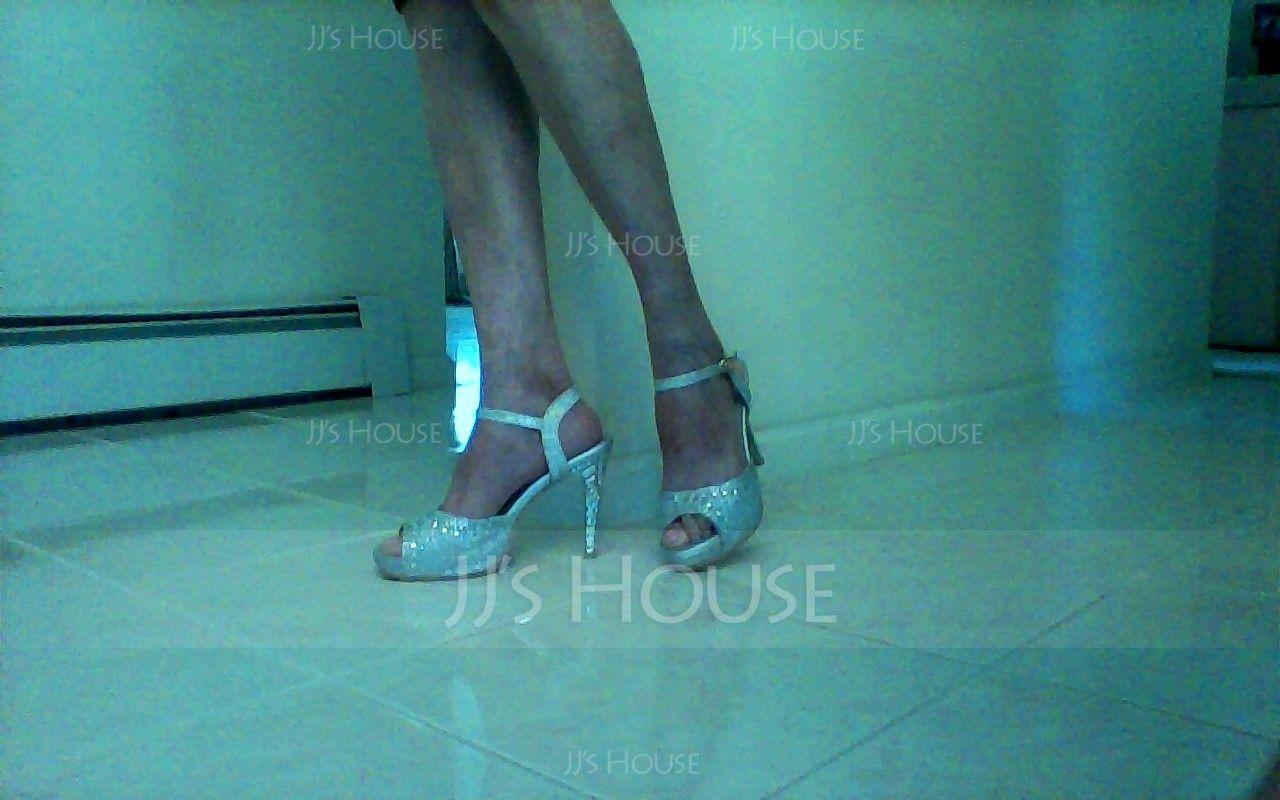 Femmes Similicuir Talon stiletto Sandales Plateforme À bout ouvert avec Strass chaussures (117125180)