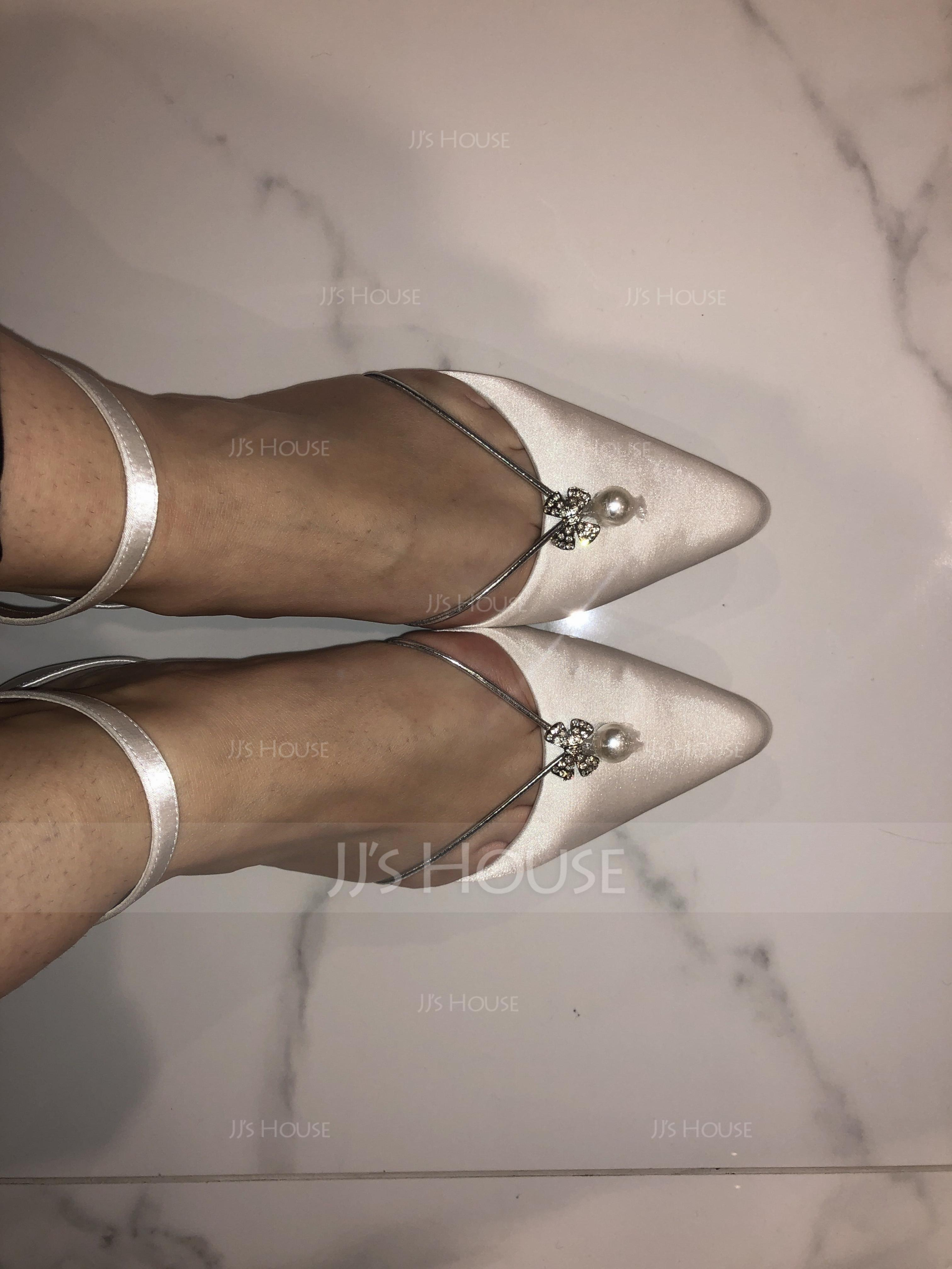 Women's Silk Like Satin Flat Heel Closed Toe Flats With Crystal (273186715)