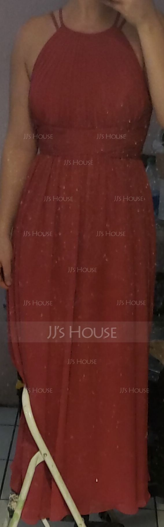 A-Line/Princess Scoop Neck Floor-Length Chiffon Bridesmaid Dress With Ruffle (007105587)