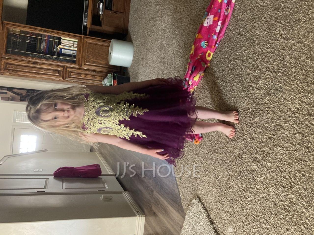 Çan Diz Hizası Çiçek Kız Elbise - Tül Kolsuz Yuvarlak Yaka Ile Dantel (010225317)