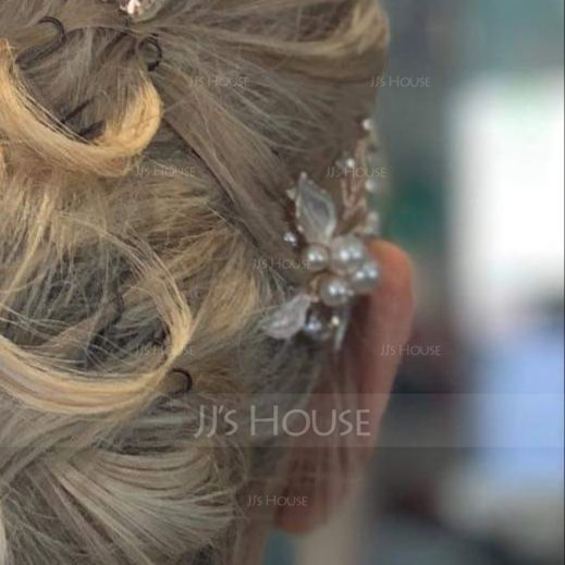 Ladies Glamourous Alloy Hairpins With Venetian Pearl (042156369)