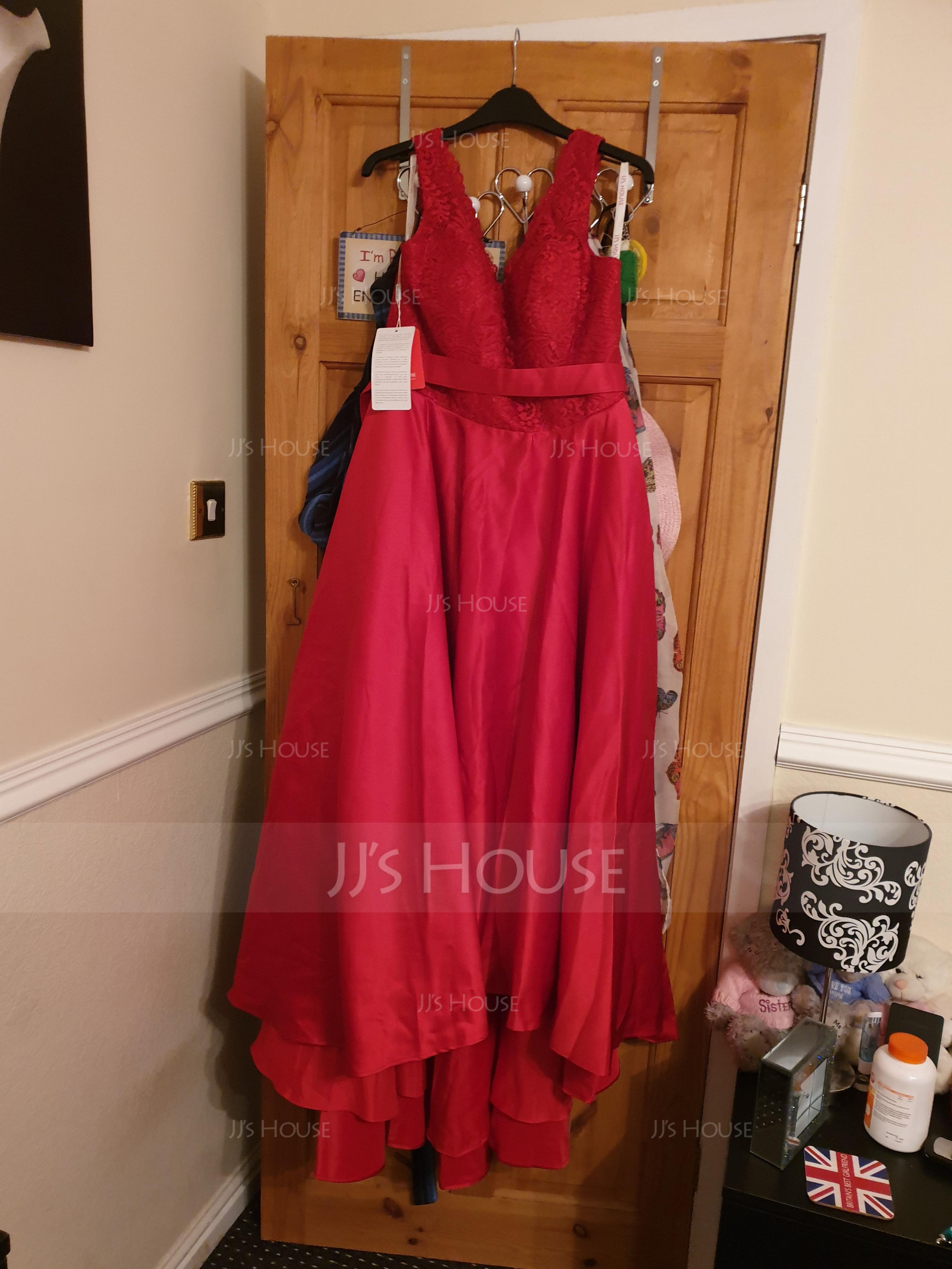 A-Line V-neck Asymmetrical Satin Lace Bridesmaid Dress (007126463)