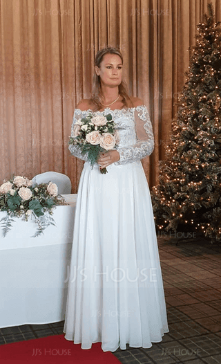 Coupe Évasée Hors-la-épaule Longueur ras du sol Mousseline Robe de mariée (002186363)