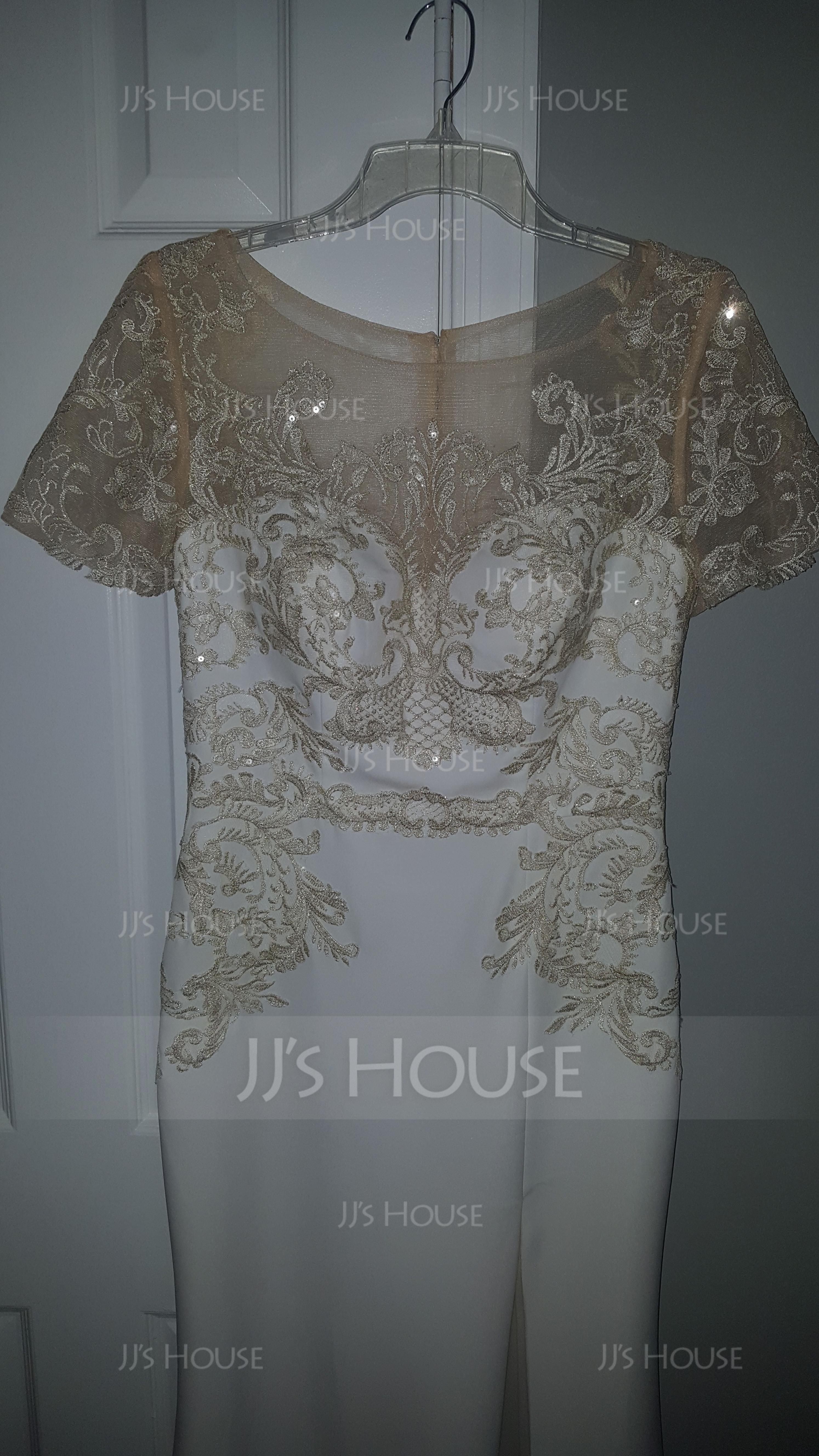 Sheath/Column Scoop Neck Floor-Length Stretch Crepe Evening Dress With Split Front (017167698)