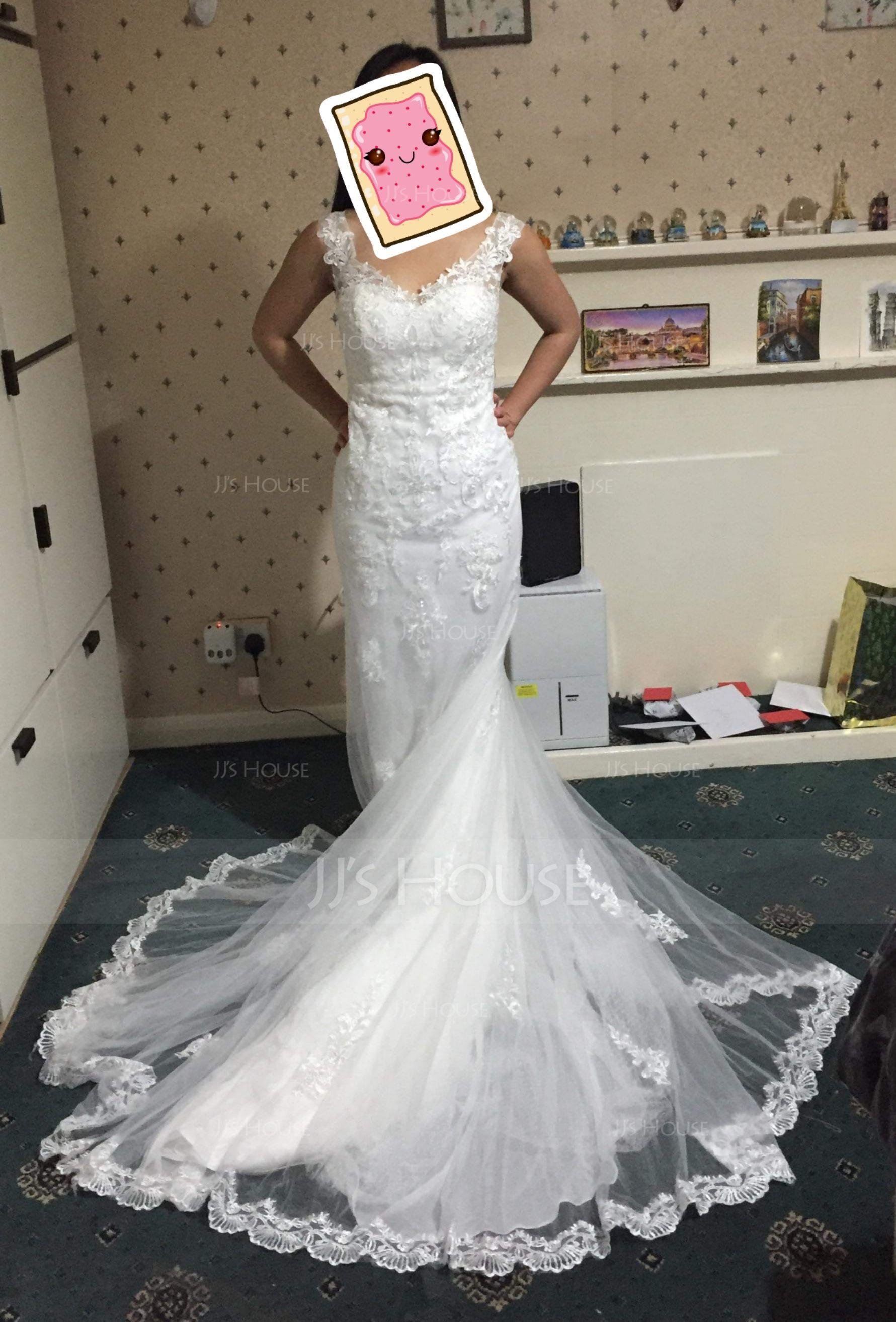 Trumpet/Mermaid V-neck Court Train Tulle Wedding Dress (002117114)