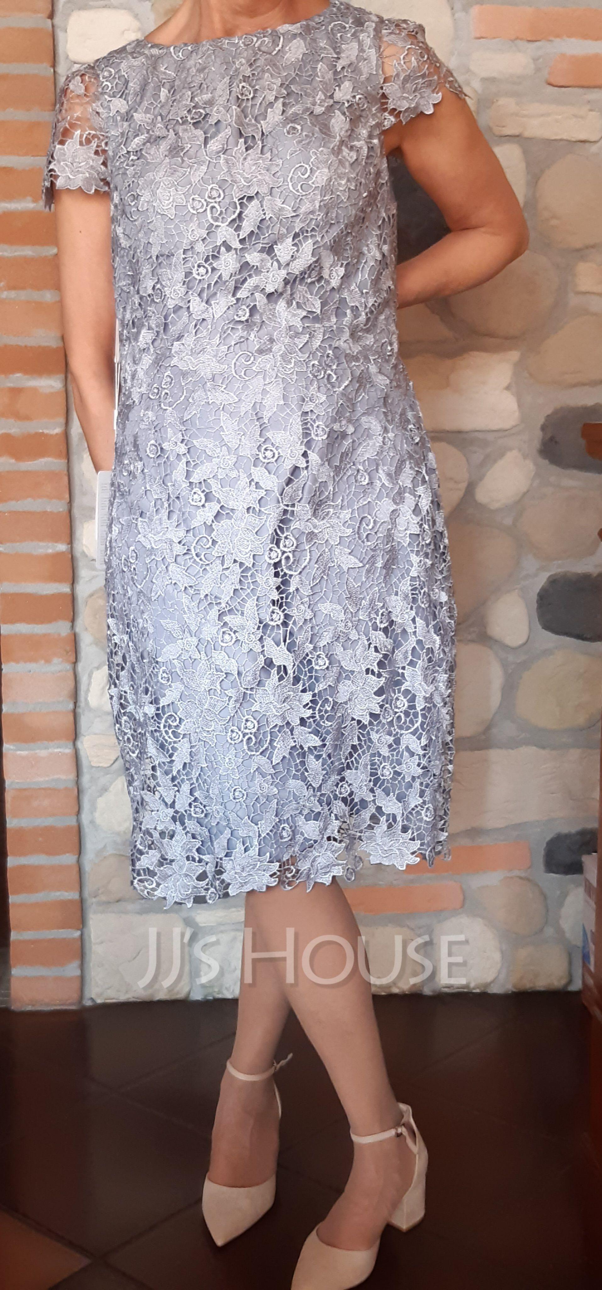 Lace Round Neck Short Sleeves Midi Dresses (293250212)