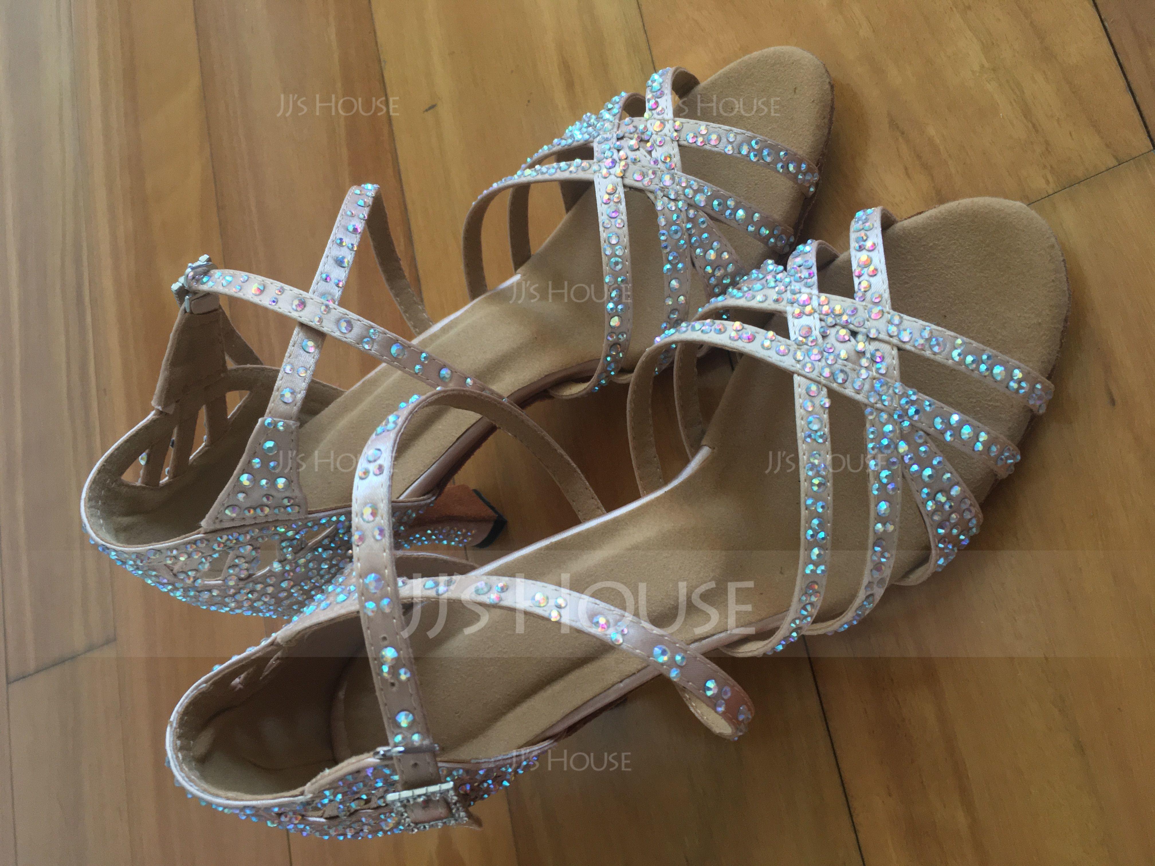 Women's Satin Heels Latin With Rhinestone Dance Shoes (053205415)