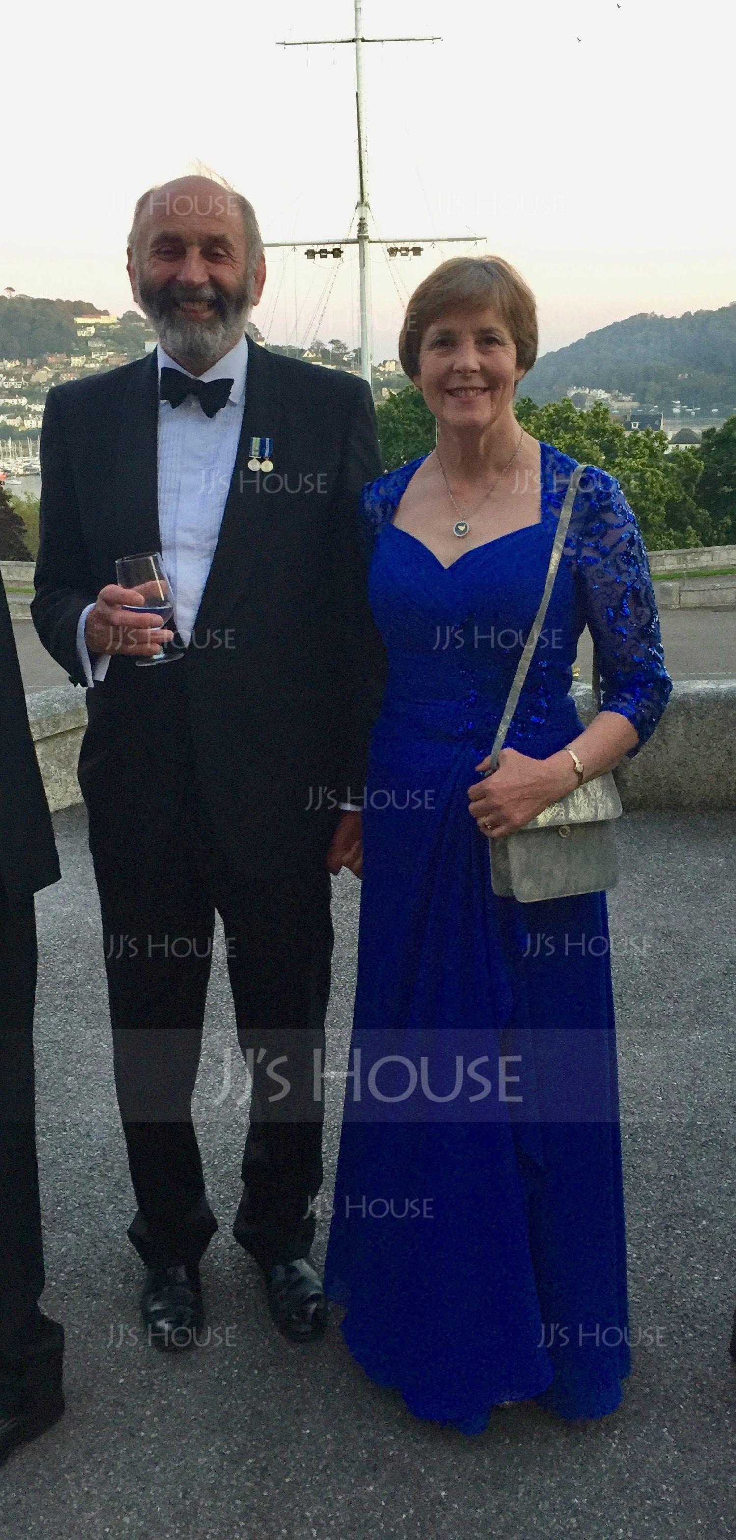 A-formet/Prinsesse kjæreste Gulvlengde Chiffong Palliet-belagt Festkjole med Brusende Volanger (017164944)