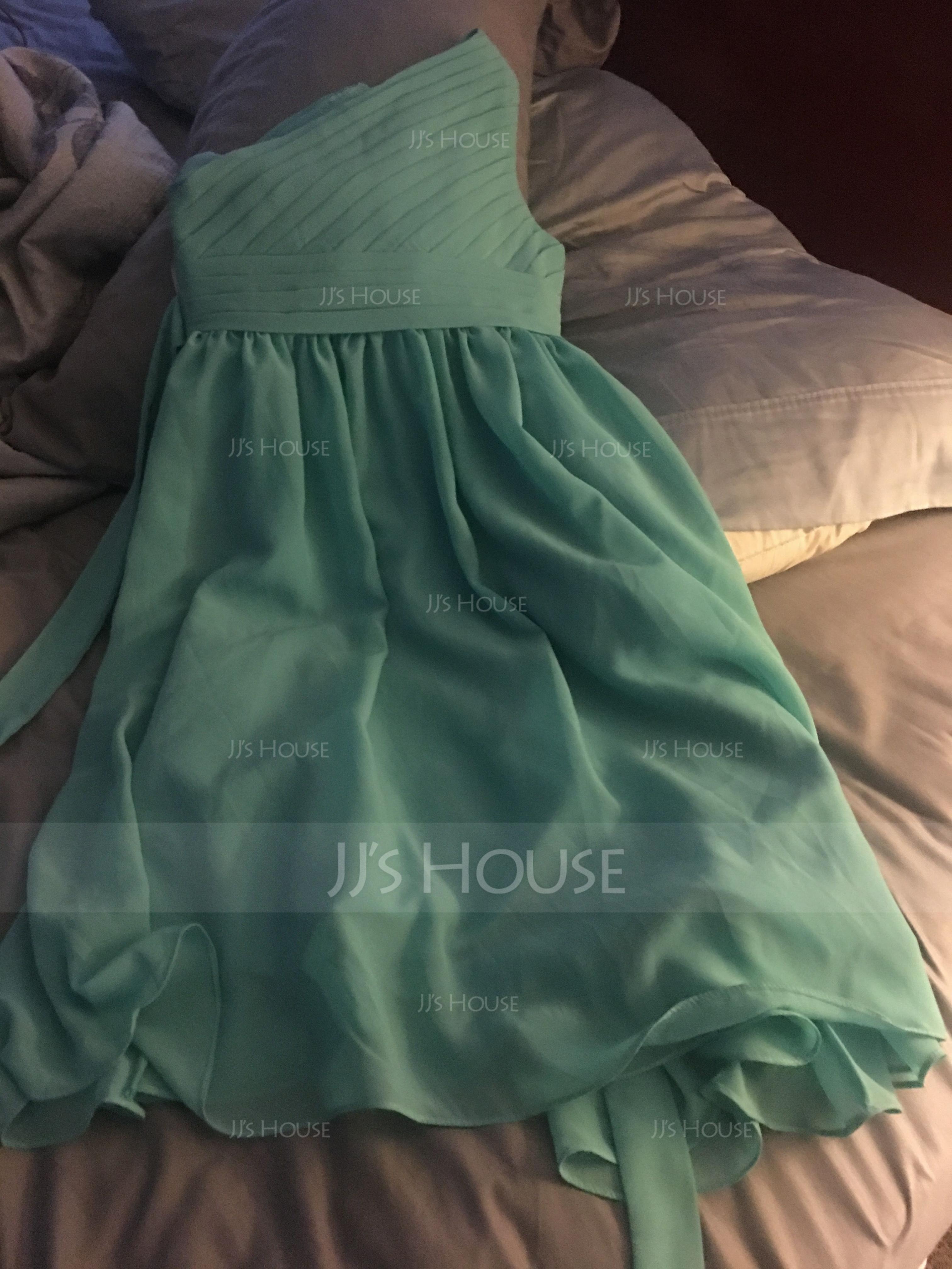 A-Line/Princess One-Shoulder Knee-Length Chiffon Junior Bridesmaid Dress With Ruffle (009119608)