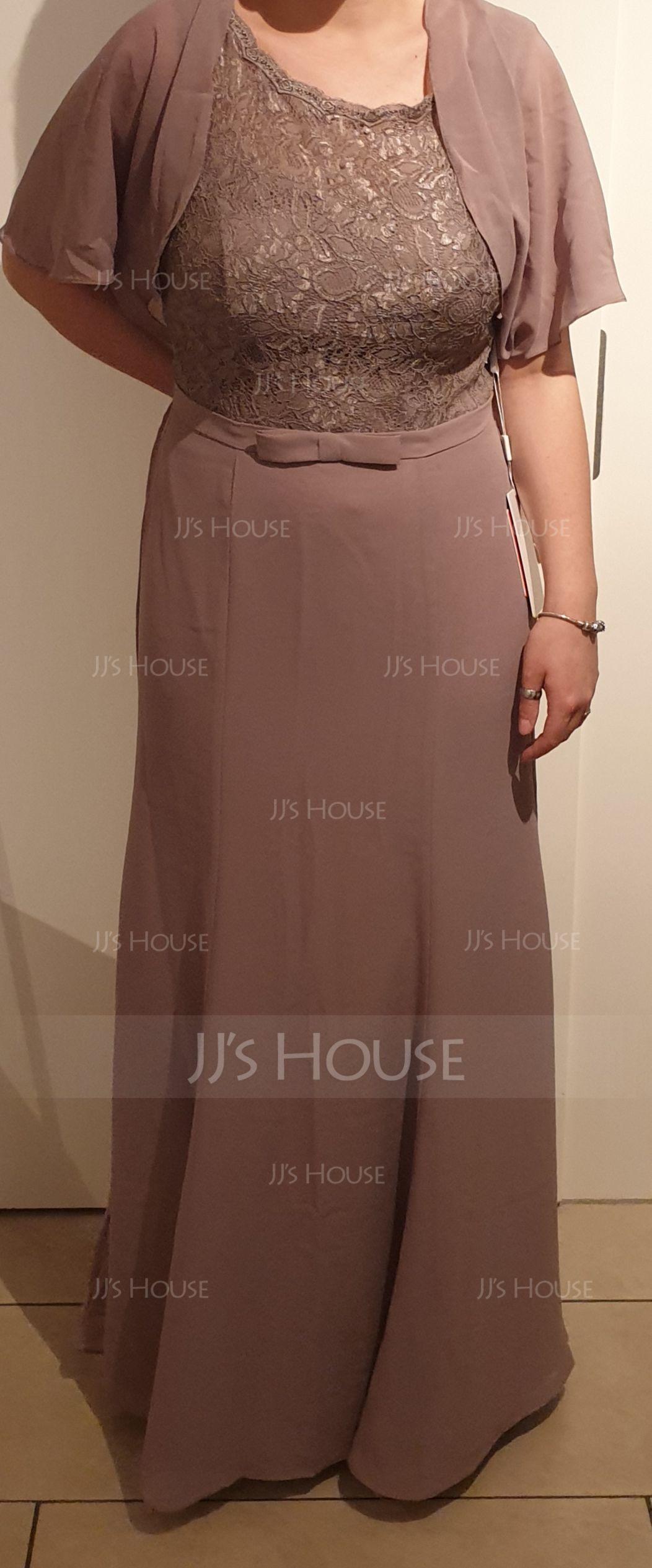 Trumpet/Mermaid Scoop Neck Floor-Length Chiffon Evening Dress With Bow(s) (017112646)