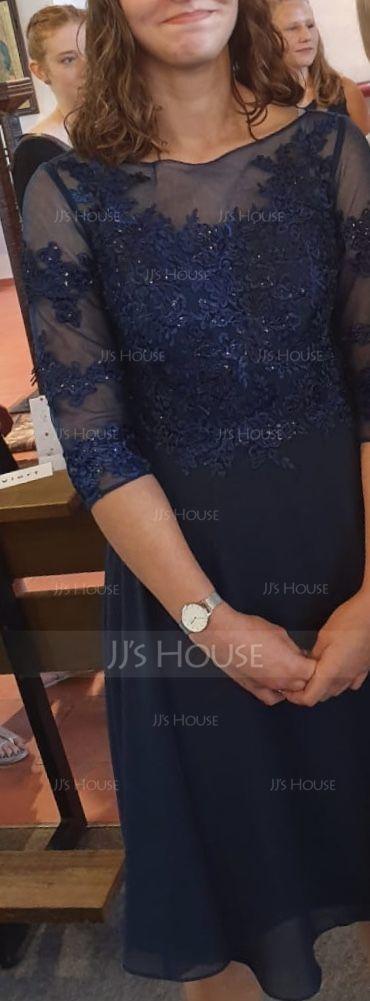 A-Linjainen Pyöreä kaula-aukko Polvipituinen Sifonki Cocktail-mekko jossa Helmikoristelu Applikaatiot Pitsi (016154230)