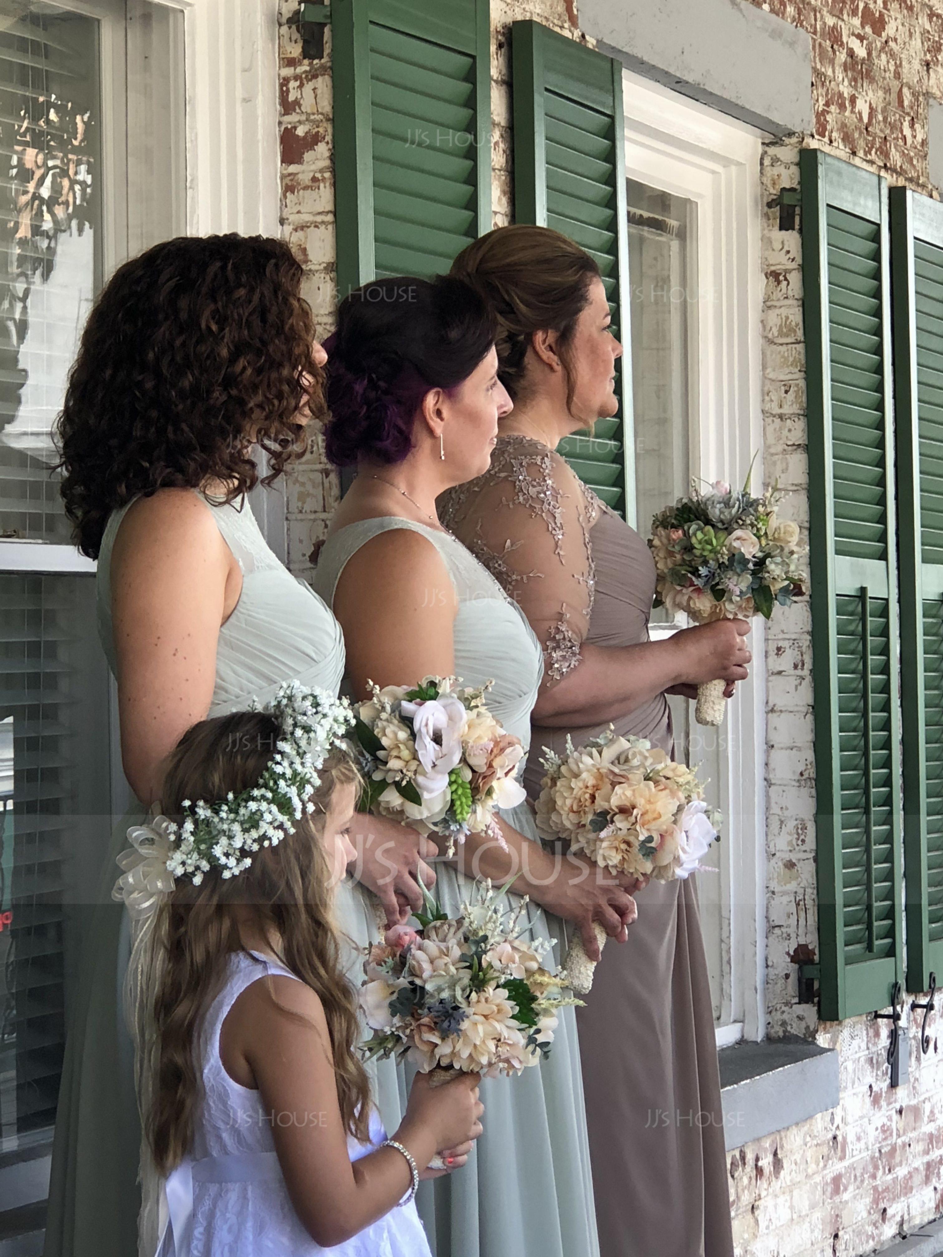 Chiffon Lace A-Line Floor-length Bridesmaid Dress