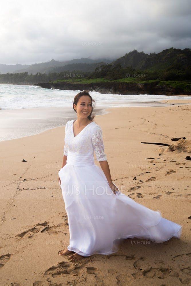 Платье для Балла V-образный Церемониальный шлейф Органза Свадебные Платье с Рябь (002127246)