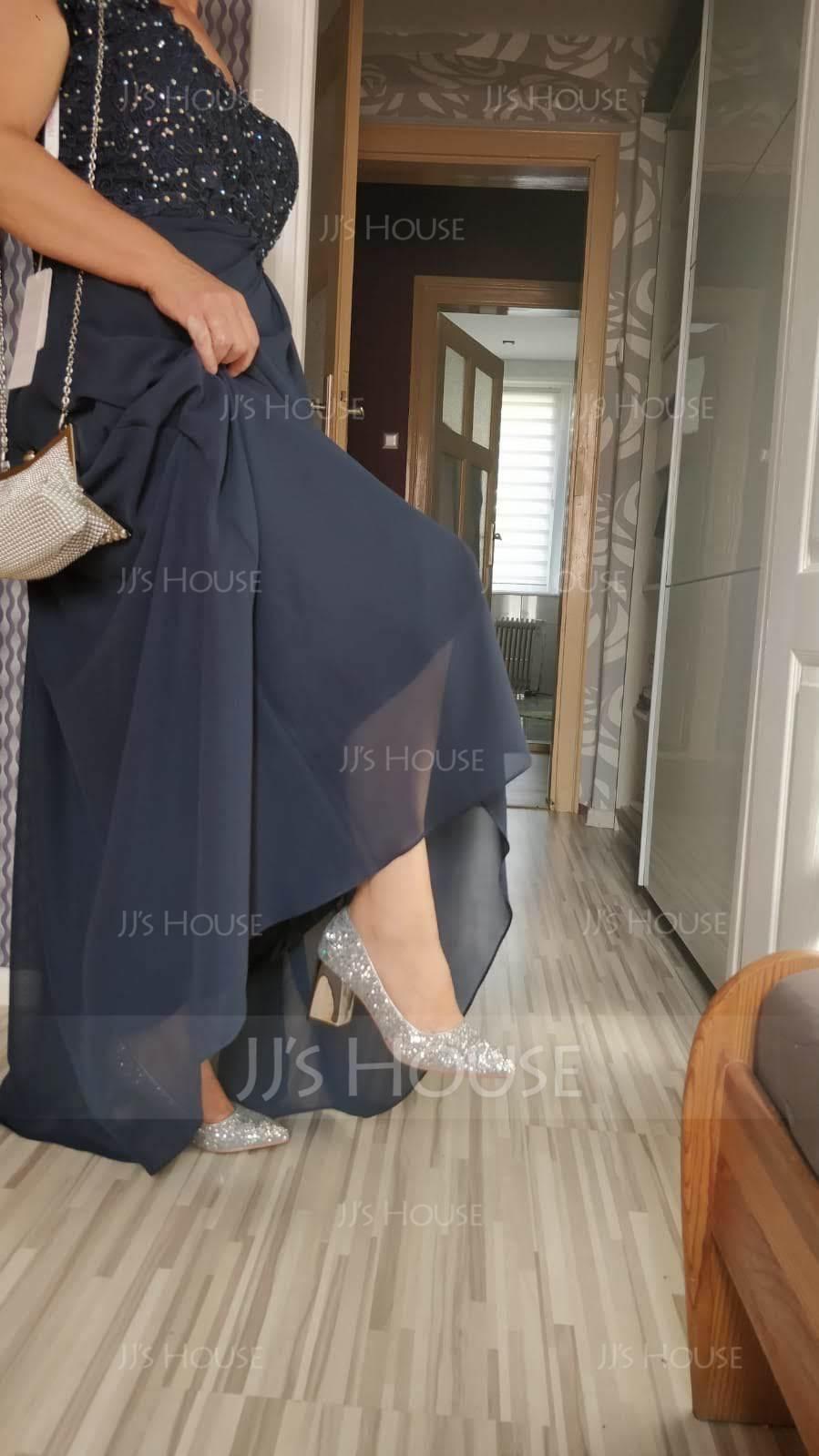 Women's Sparkling Glitter Chunky Heel Closed Toe (047121088)