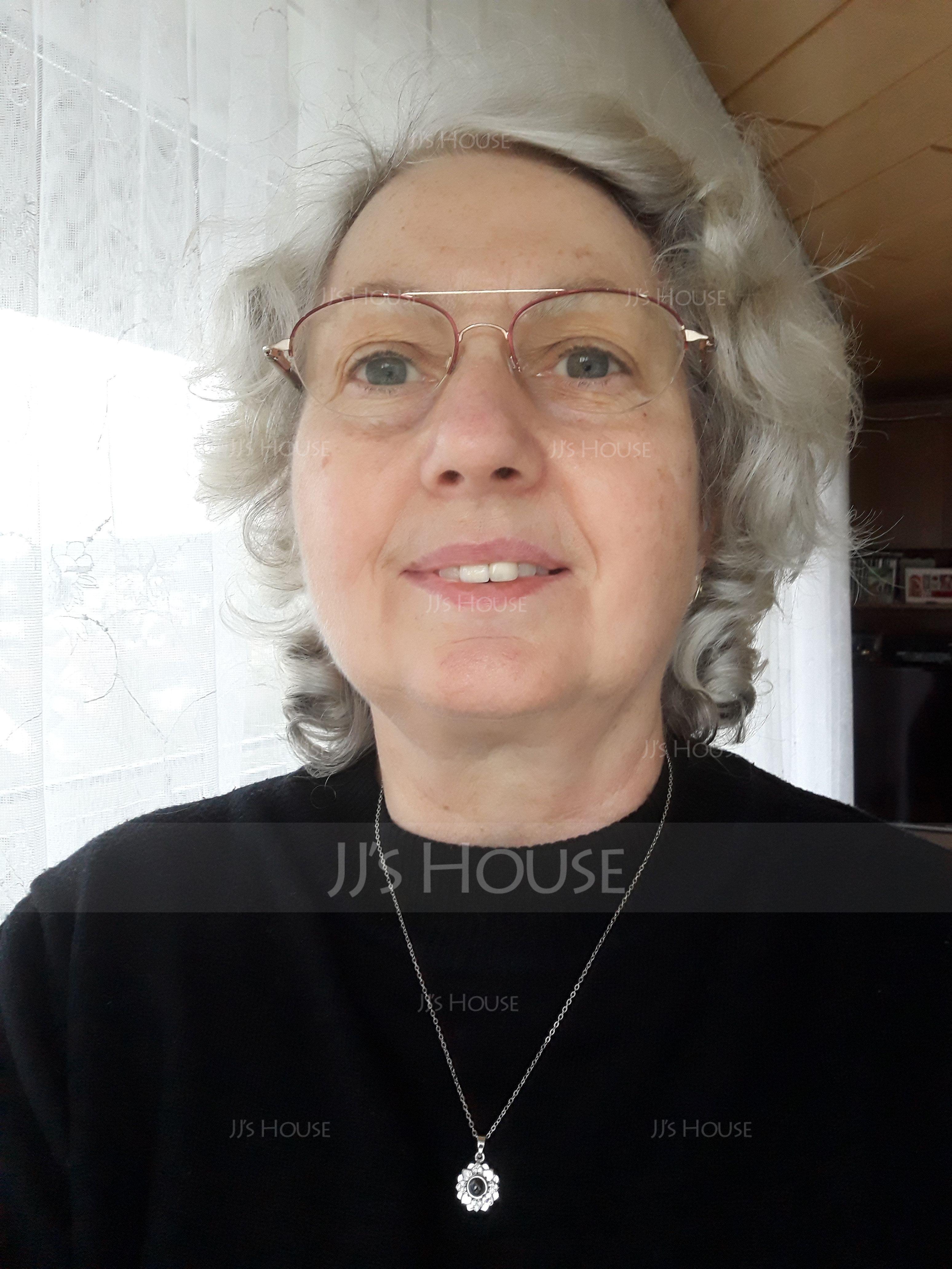 Personalizzata Argento Cerchio Proiezione Collana Fotografica con Quattro Cuoricini - Regali Per La Festa Della Mamma