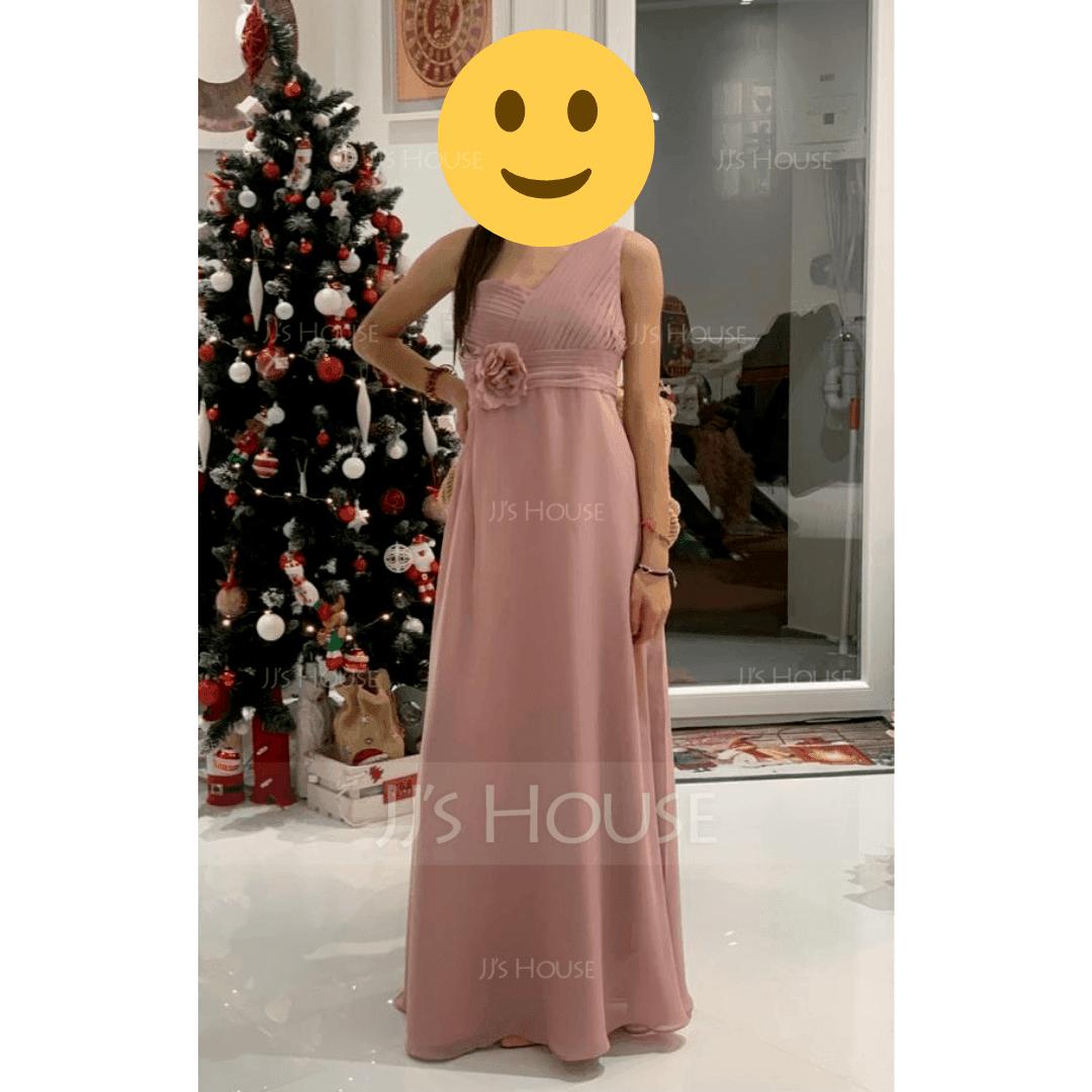 A-Line One-Shoulder Floor-Length Chiffon Junior Bridesmaid Dress With Ruffle Flower(s)