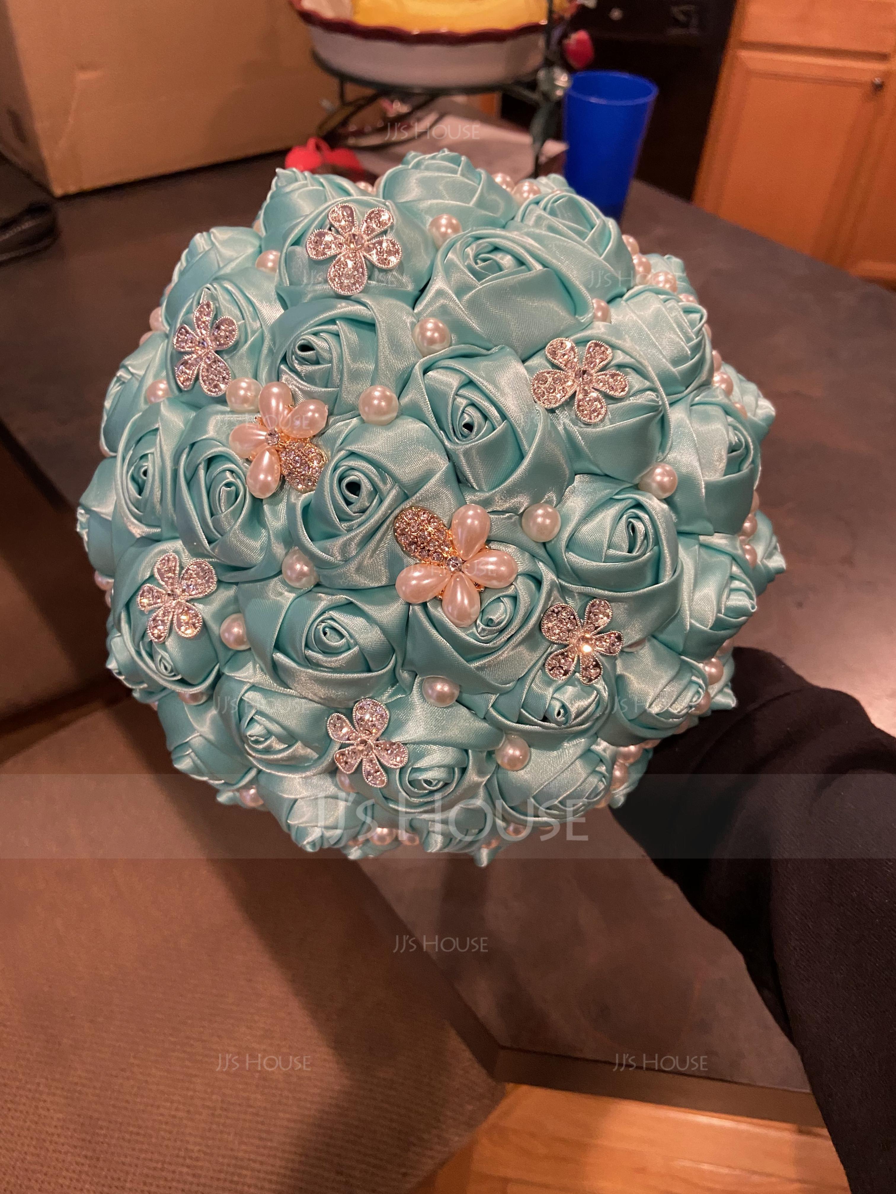 Round Satin/Rhinestone/Imitation Pearl Bridal Bouquets (Sold in a single piece) - (123182197)