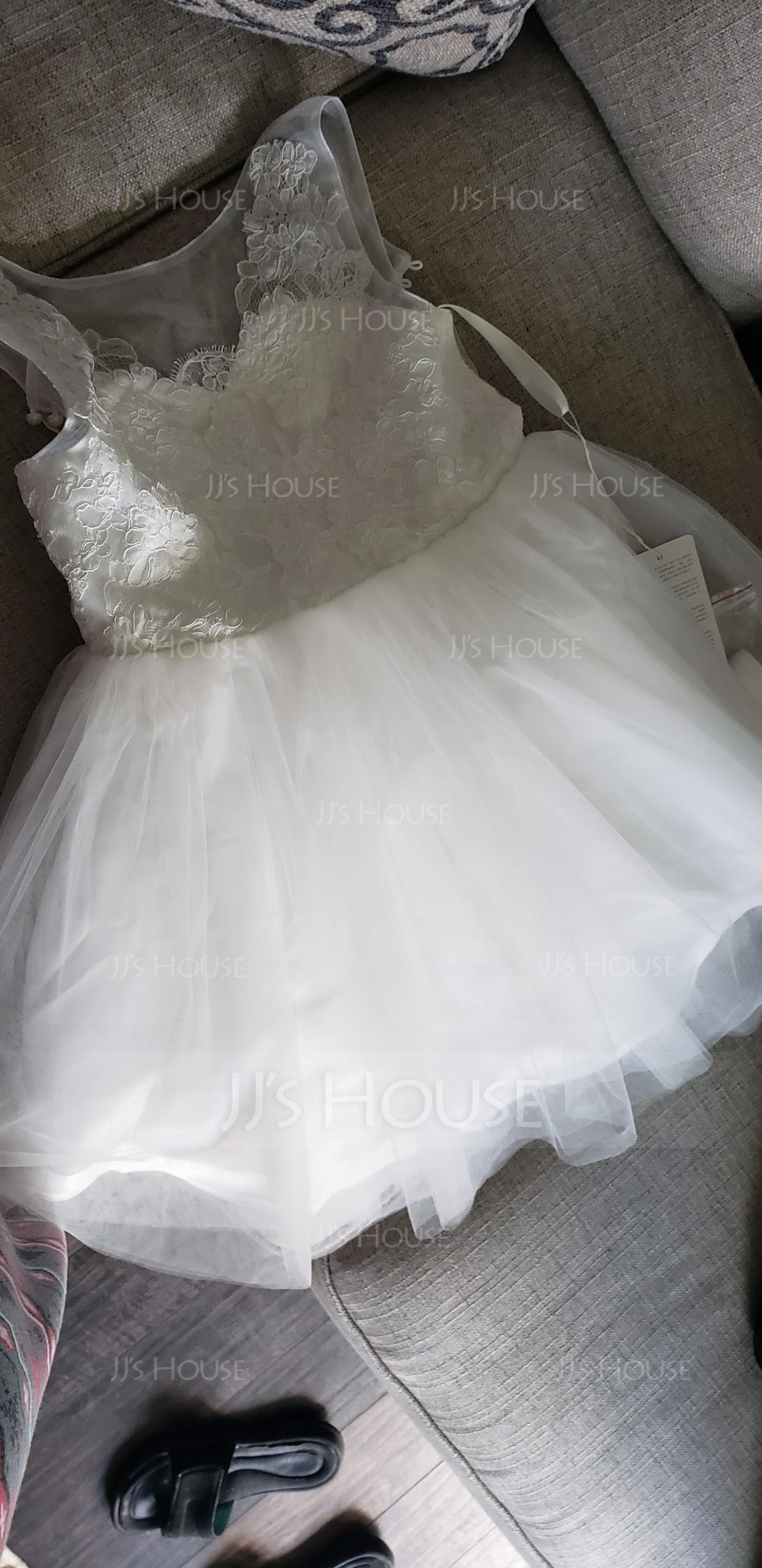 Aライン 膝上丈 フラワーガールのドレス - チュール/レース 袖なし スクープネック とともに アップリケ/弓/ラインストーン
