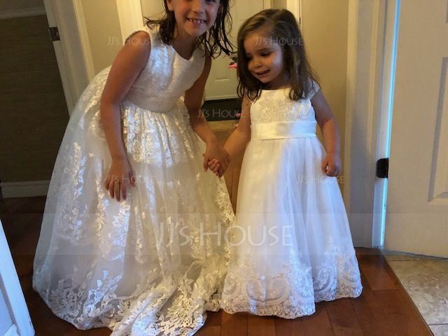 A-Line/Princess Tea-length Flower Girl Dress - Tulle Sleeveless Scoop Neck With Lace (010091207)