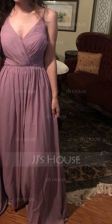 A-Line/Princess V-neck Floor-Length Chiffon Bridesmaid Dress With Ruffle (007072791)