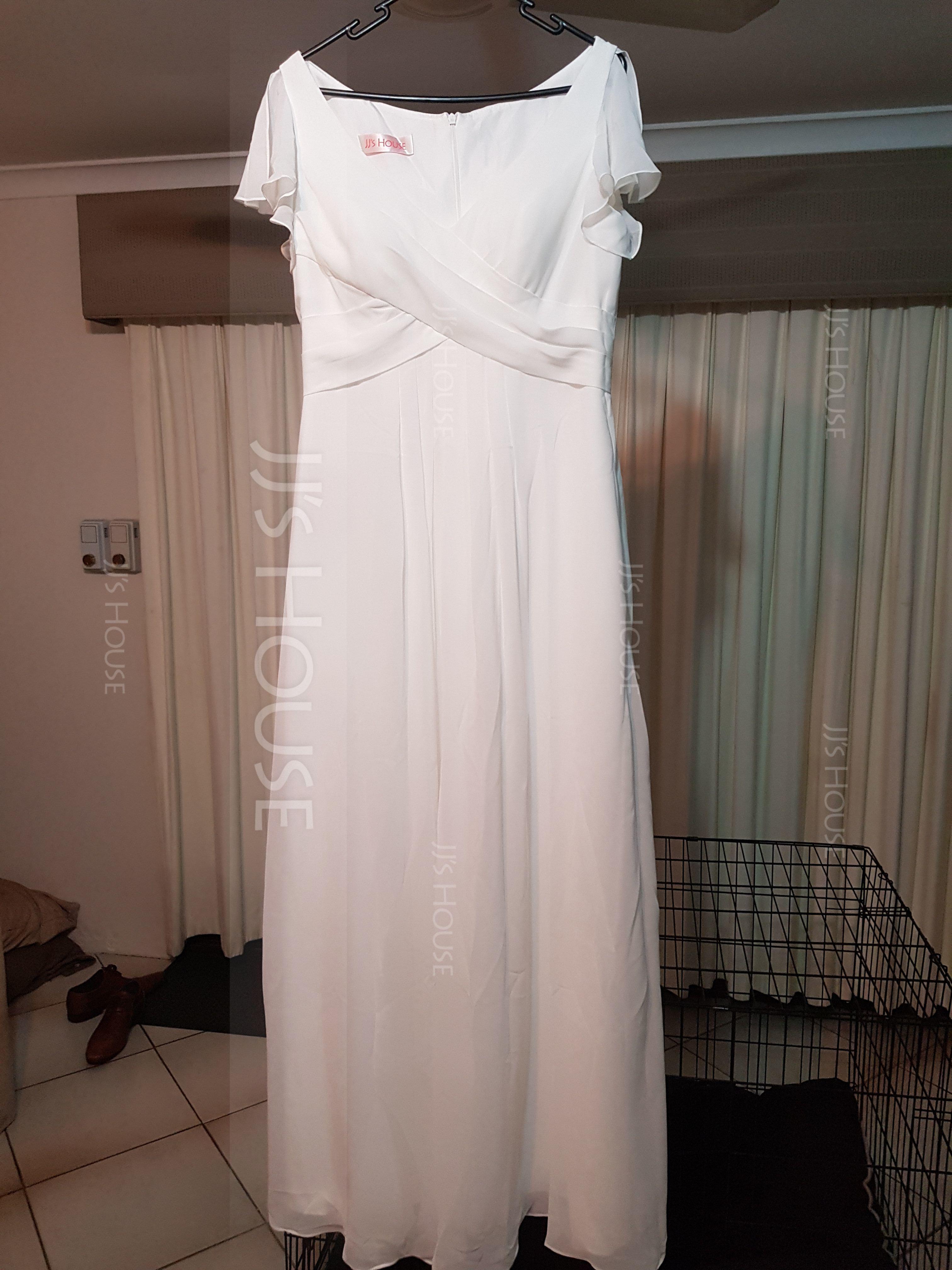 V-neck Floor-Length Chiffon Bridesmaid Dress With Cascading Ruffles Pockets (266197924)