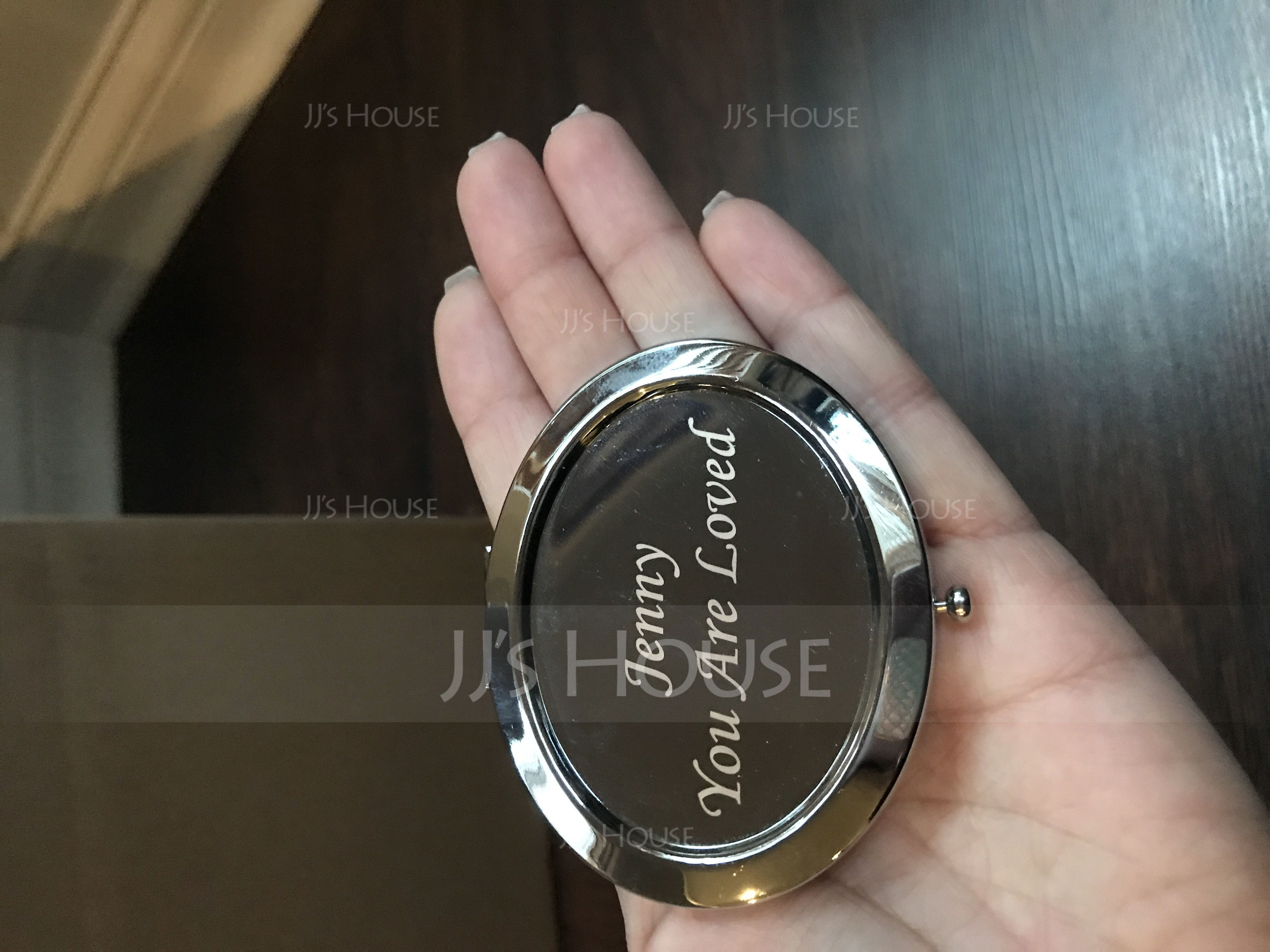 Bridesmaid Gifts - Personalized Beautiful Classic Elegant Stainless Steel Compact Mirror (256176209)