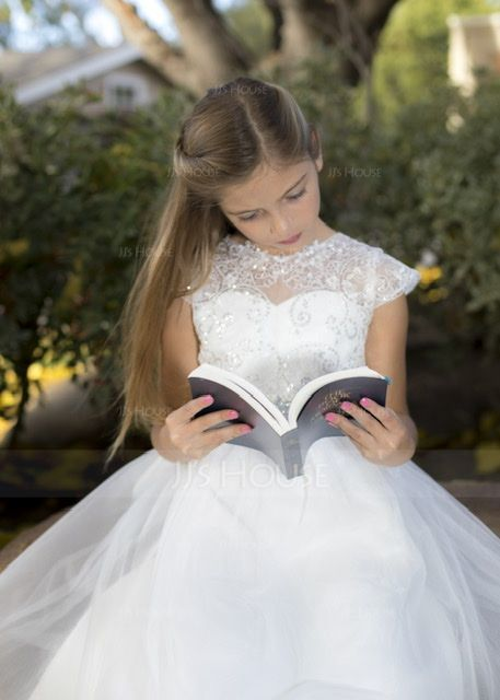 Ball Gown Sweep Train Flower Girl Dress - Satin/Tulle/Lace Sleeveless Scoop Neck With Sash/Beading/Appliques/V Back (010130847)