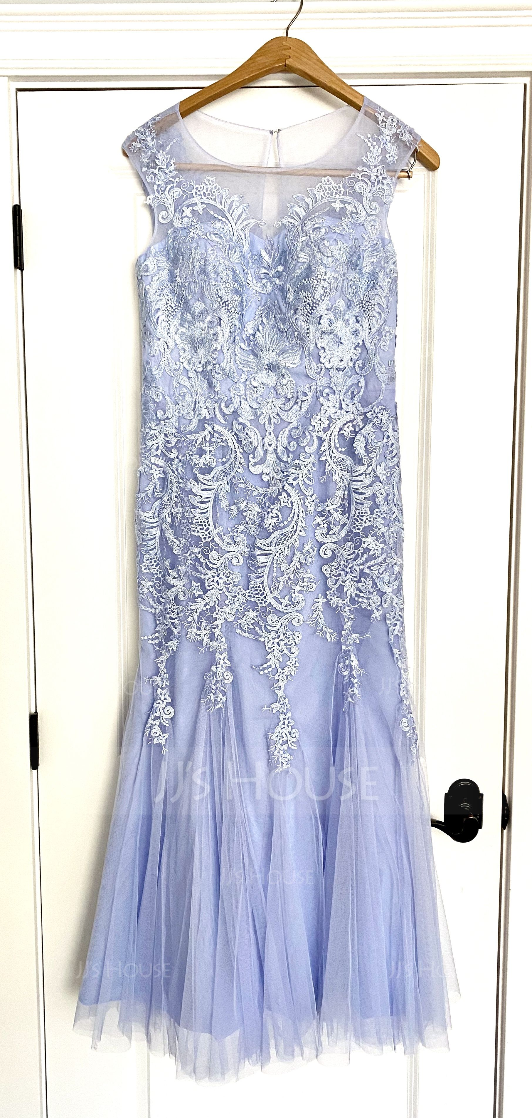 Trumpet/Mermaid Scoop Neck Floor-Length Tulle Lace Mother of the Bride Dress (267205452)